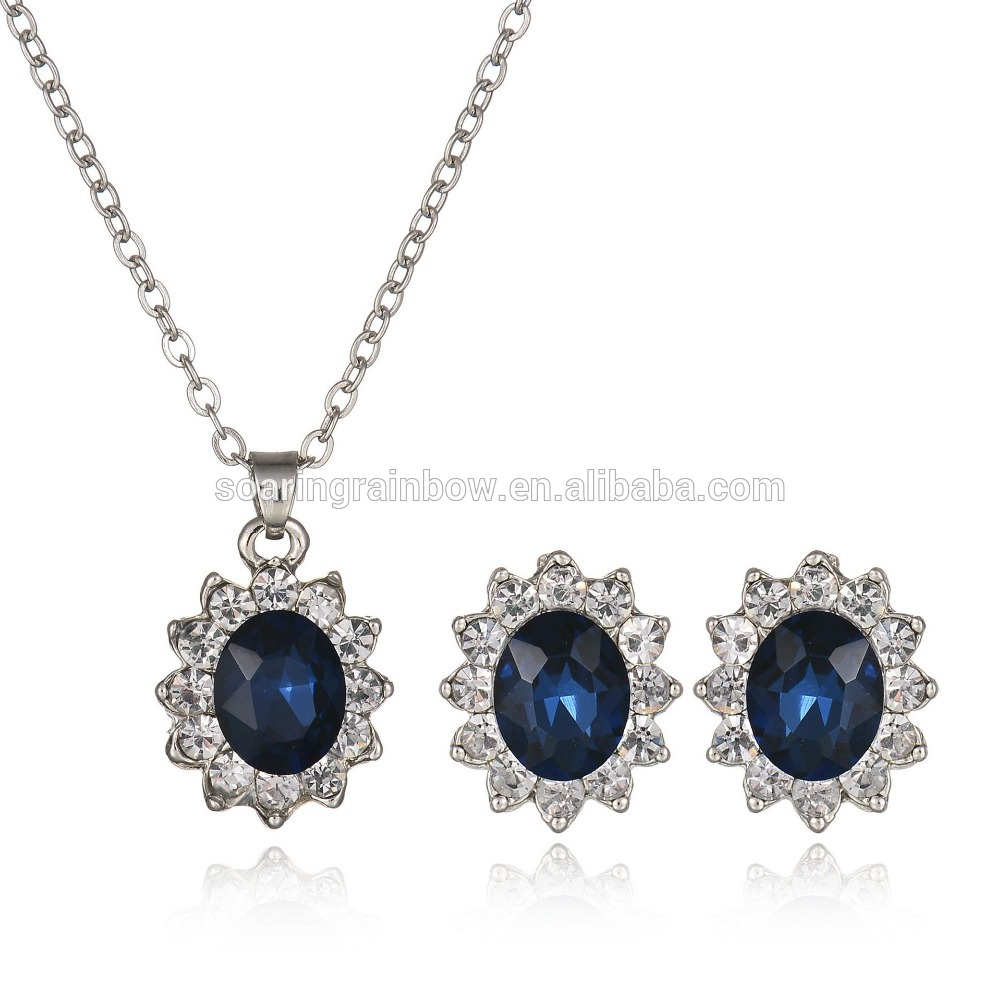 Royal Blue Princess Diana Style Crystal Earring And Necklace Sets Within Newest Royal Green Crystal May Droplet Pendant Necklaces (View 19 of 25)