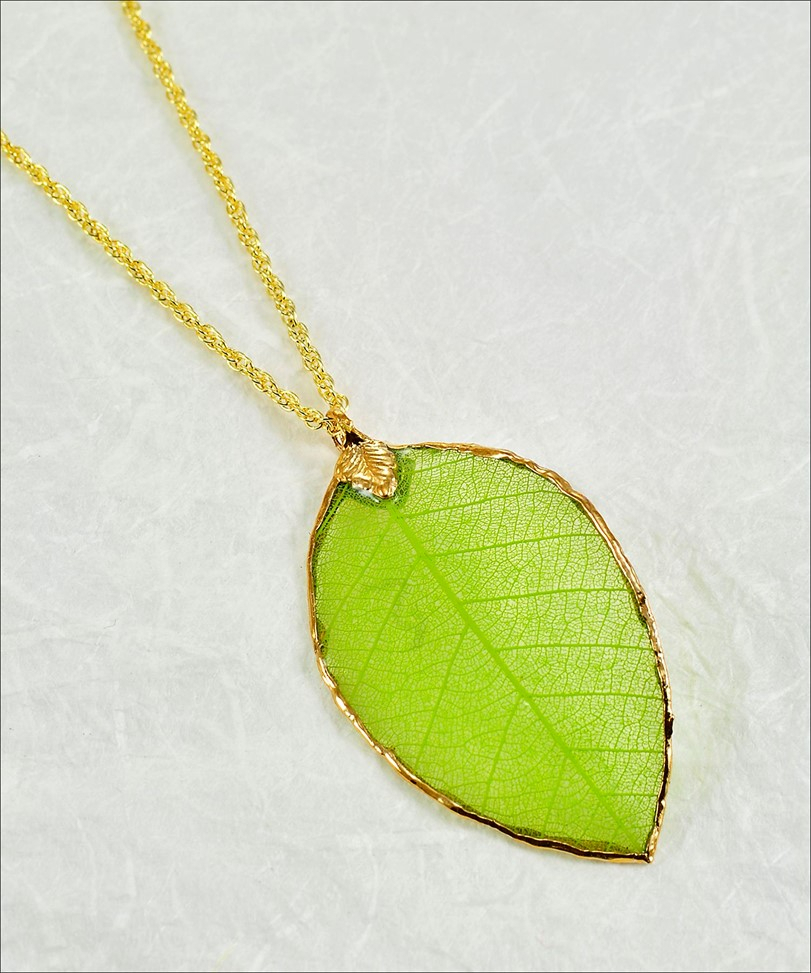 Rubber Leaf L Leaf Necklace L Real Leaf Necklace For 2019 Shining Leaf Pendant Necklaces (View 18 of 25)