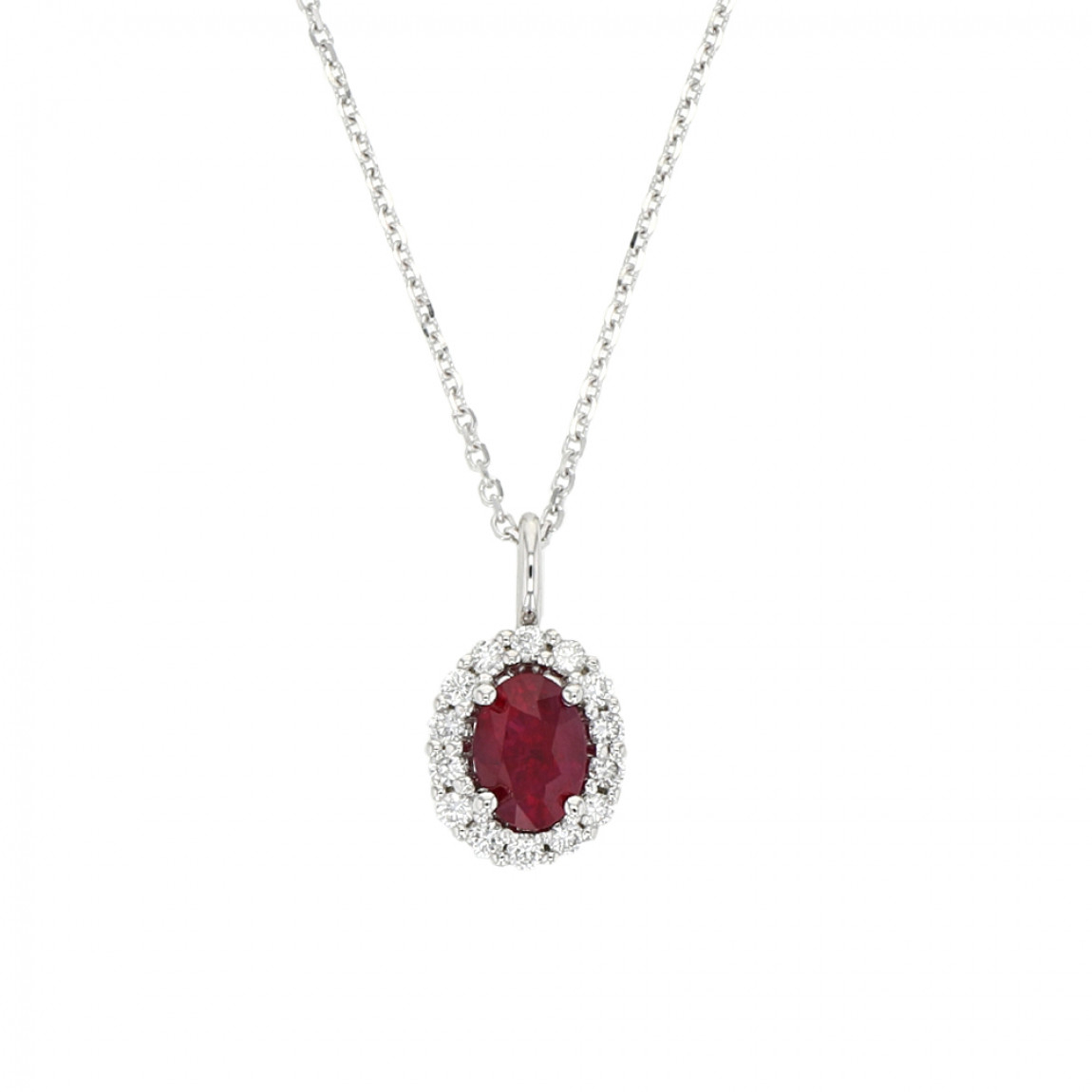 Ruby And Diamond Halo Pendant, Oval, 14K White Gold, 1.01Ct Ruby,  (View 20 of 25)