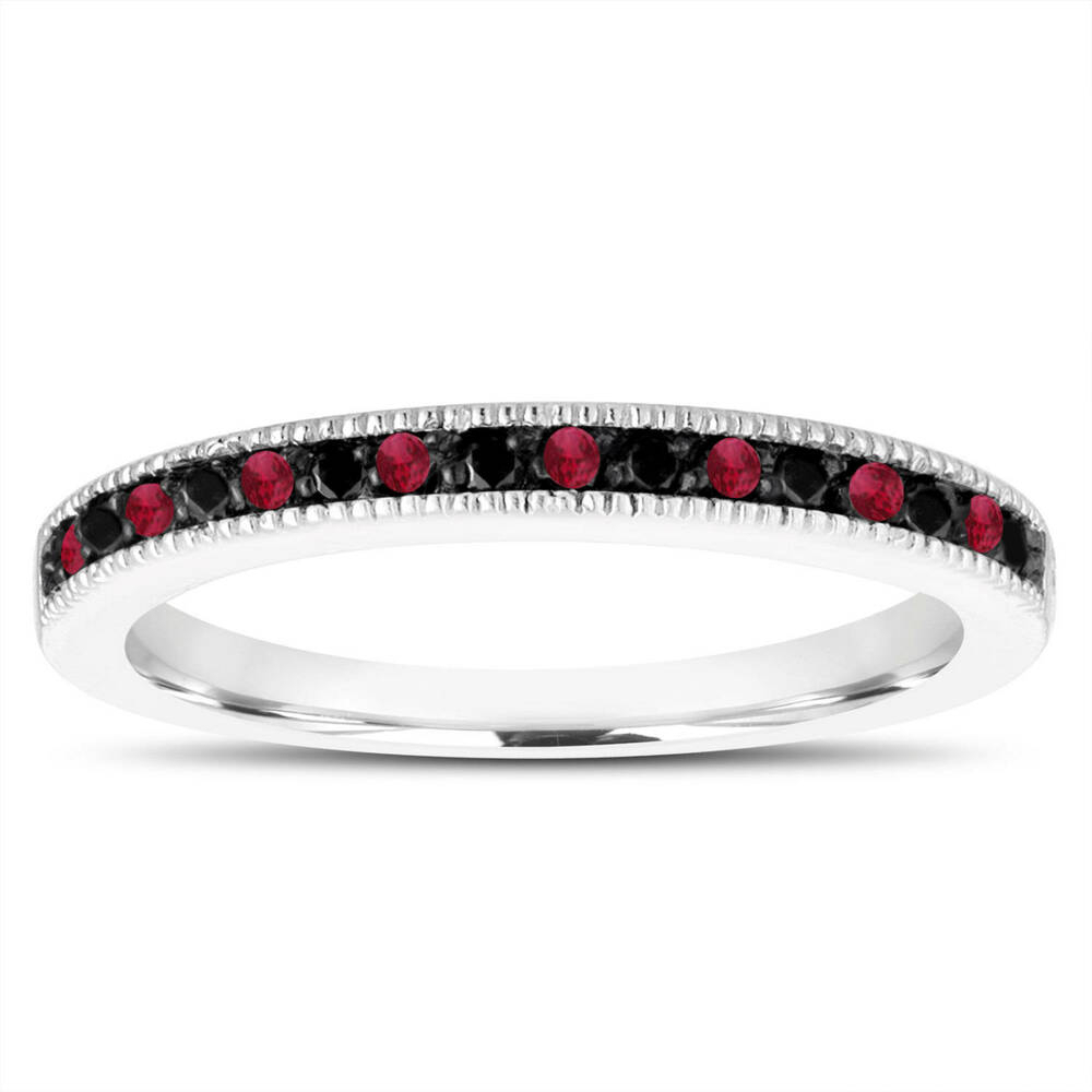 Ruby & Enhanced Black Diamonds Wedding Band, Anniversary Throughout Current Enhanced Black And White Diamond Anniversary Ring In White Gold (Gallery 12 of 25)