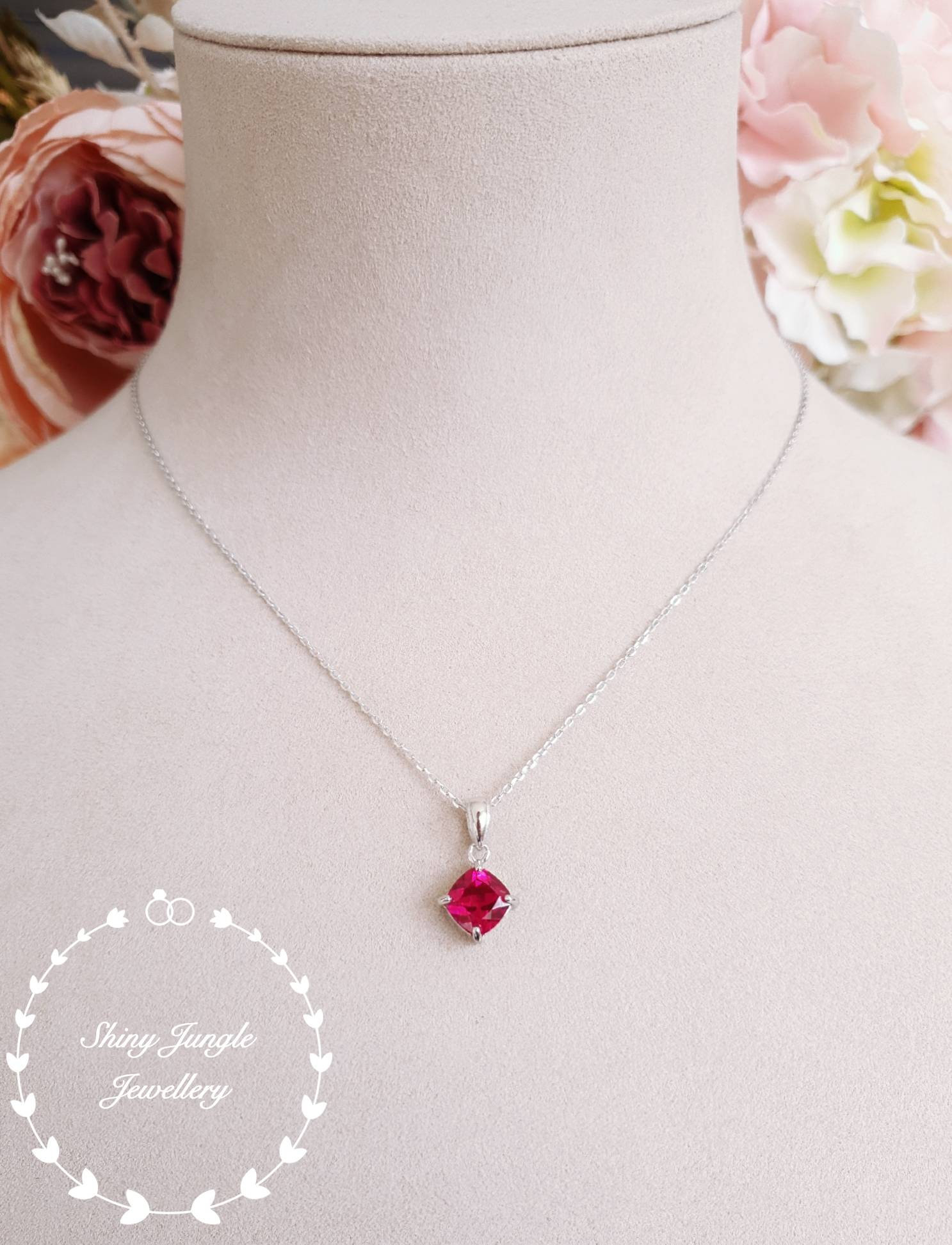 Ruby Necklace, Ruby Pendant, July Birthstone Pendant, Cushion Cut In Most Recent Red July Birthstone Locket Element Necklaces (View 15 of 25)