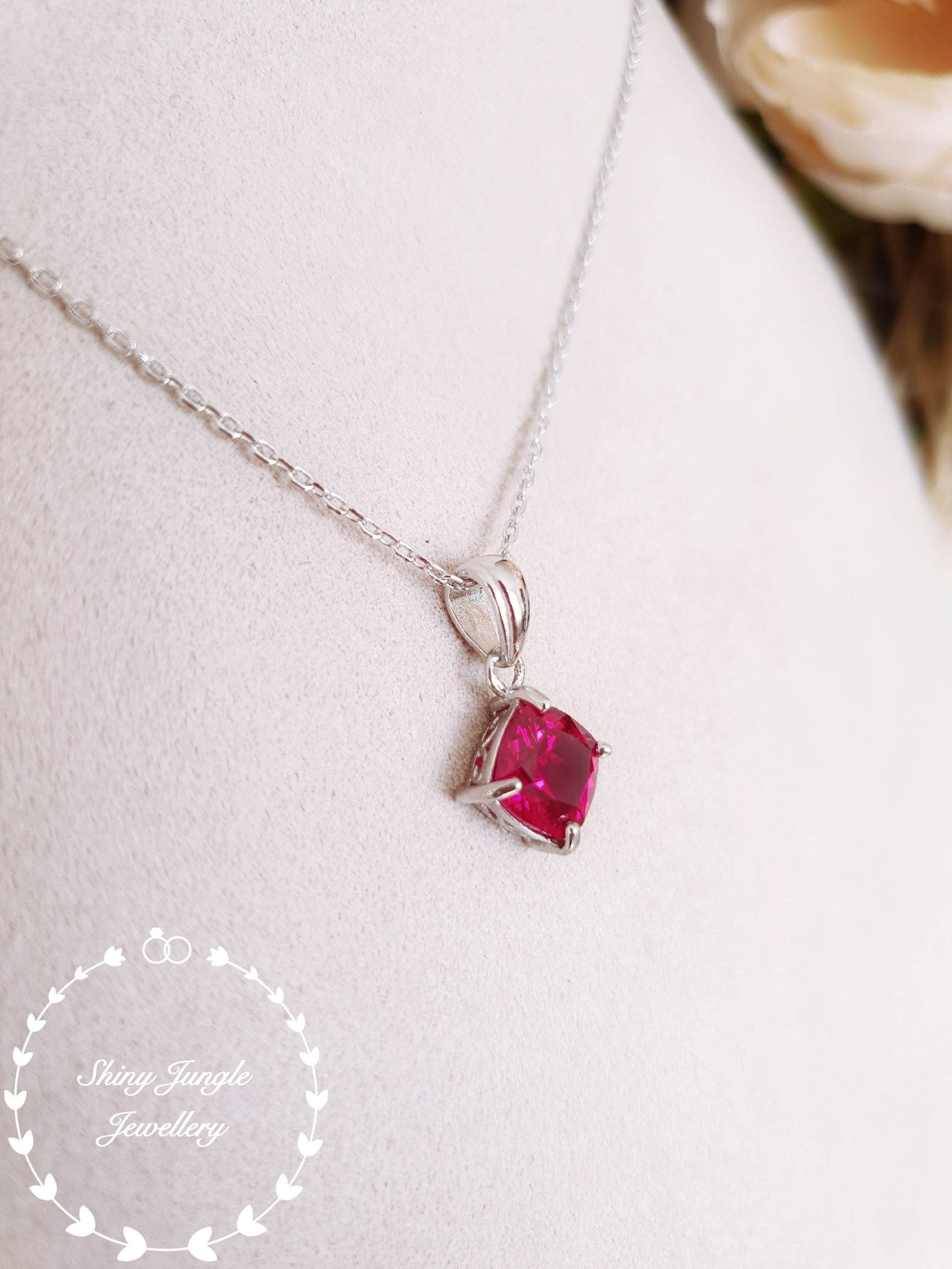 Ruby Necklace, Ruby Pendant, July Birthstone Pendant, Cushion Cut With Regard To Most Up To Date Red July Birthstone Locket Element Necklaces (View 16 of 25)