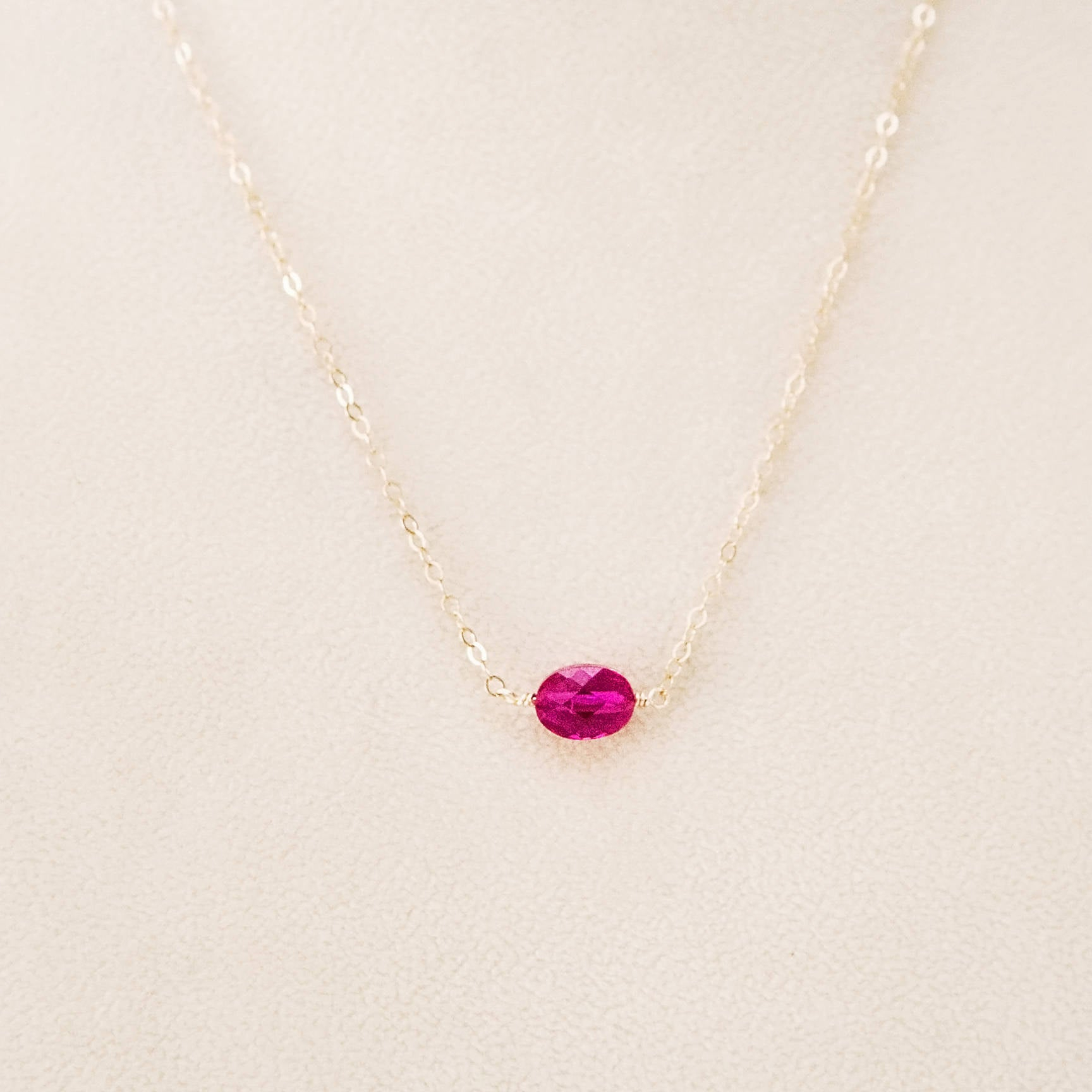 Ruby Necklace Ruby Pendant Ruby Crystal Necklace Ruby Crystal Pendant Ruby Oval July Birthstone Layering Pendant Gift For Her Gifts Under 50 With Current July Droplet Pendant, Synthetic Ruby Necklaces (View 5 of 25)