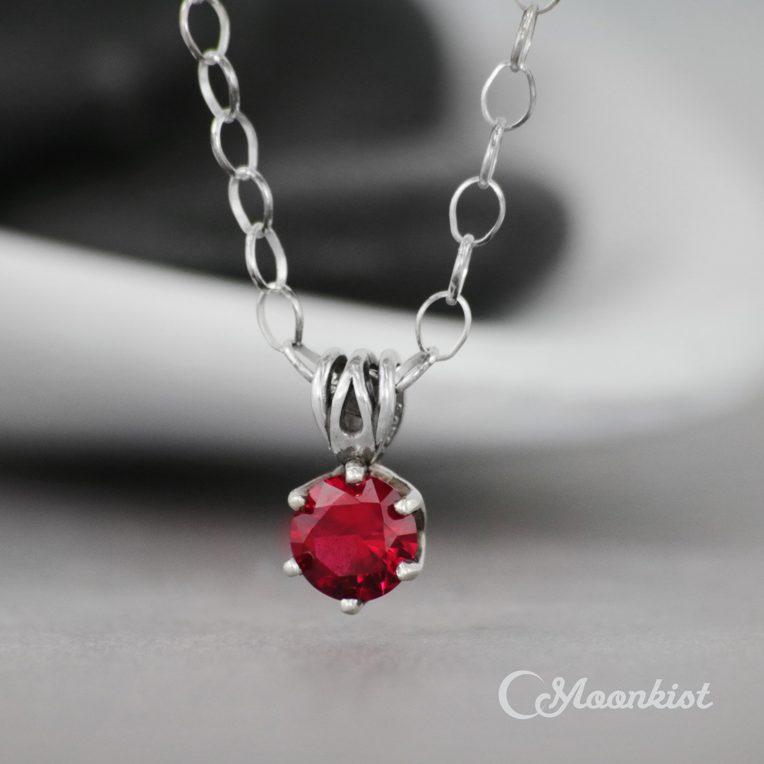 Ruby Pendant – Sterling Silver Ruby Necklace – Single Stone Necklace – Red  Gemstone Necklace – July Birthstone Necklace – 6 Mm  Gift For Her Pertaining To Recent Red July Birthstone Locket Element Necklaces (Gallery 4 of 25)