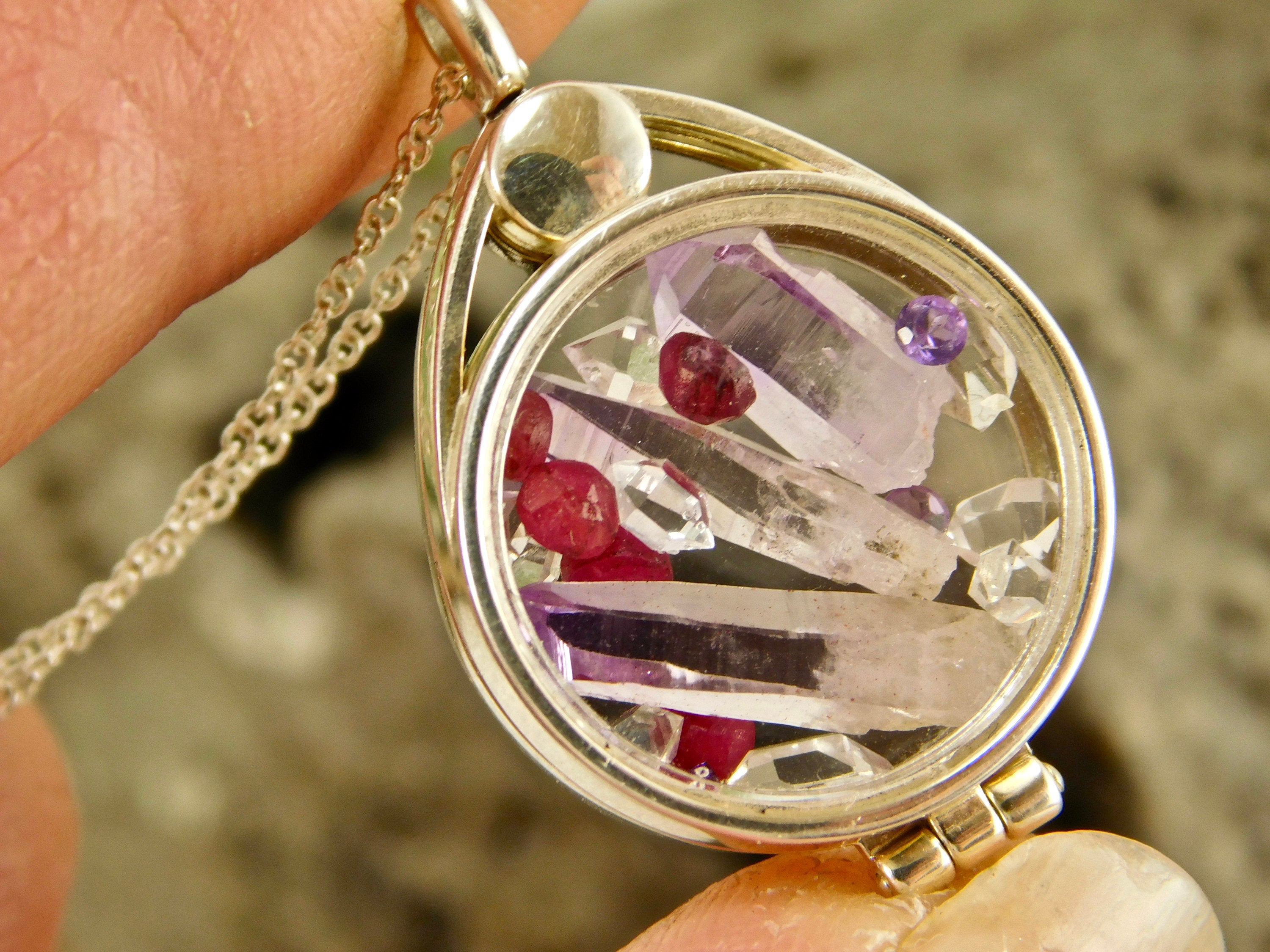 Ruby + Vera Cruz Amethyst Crystal Point + Ny Herkimer Diamond Quartz  Crystals In A Floating Locket Sterling Silver Pendant Necklace Jewelry Pertaining To Most Recently Released Faceted Locket Dangle Charm, Synthetic Amethyst Necklaces (Gallery 23 of 25)