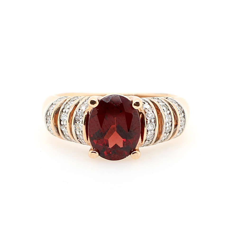 Ryan Gems 14 Karat Yellow Gold Garnet And Diamond Ring In Most Popular Champagne And White Diamond Swirled Anniversary Bands In Rose Gold (View 11 of 25)