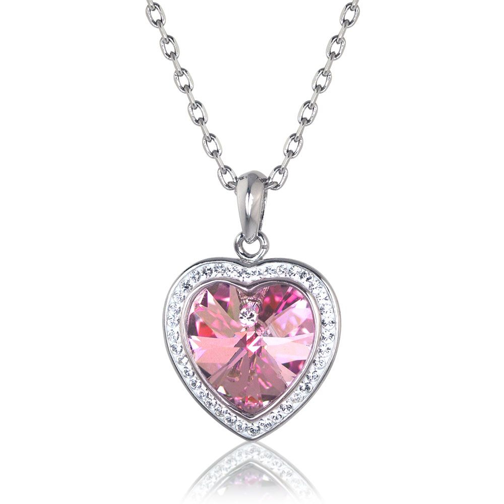 Sabrina Heart Necklace Made With Swarovski Elements Get Up To 70 With Regard To 2020 Pavé Angel Wing Locket Element Necklaces (Gallery 13 of 25)
