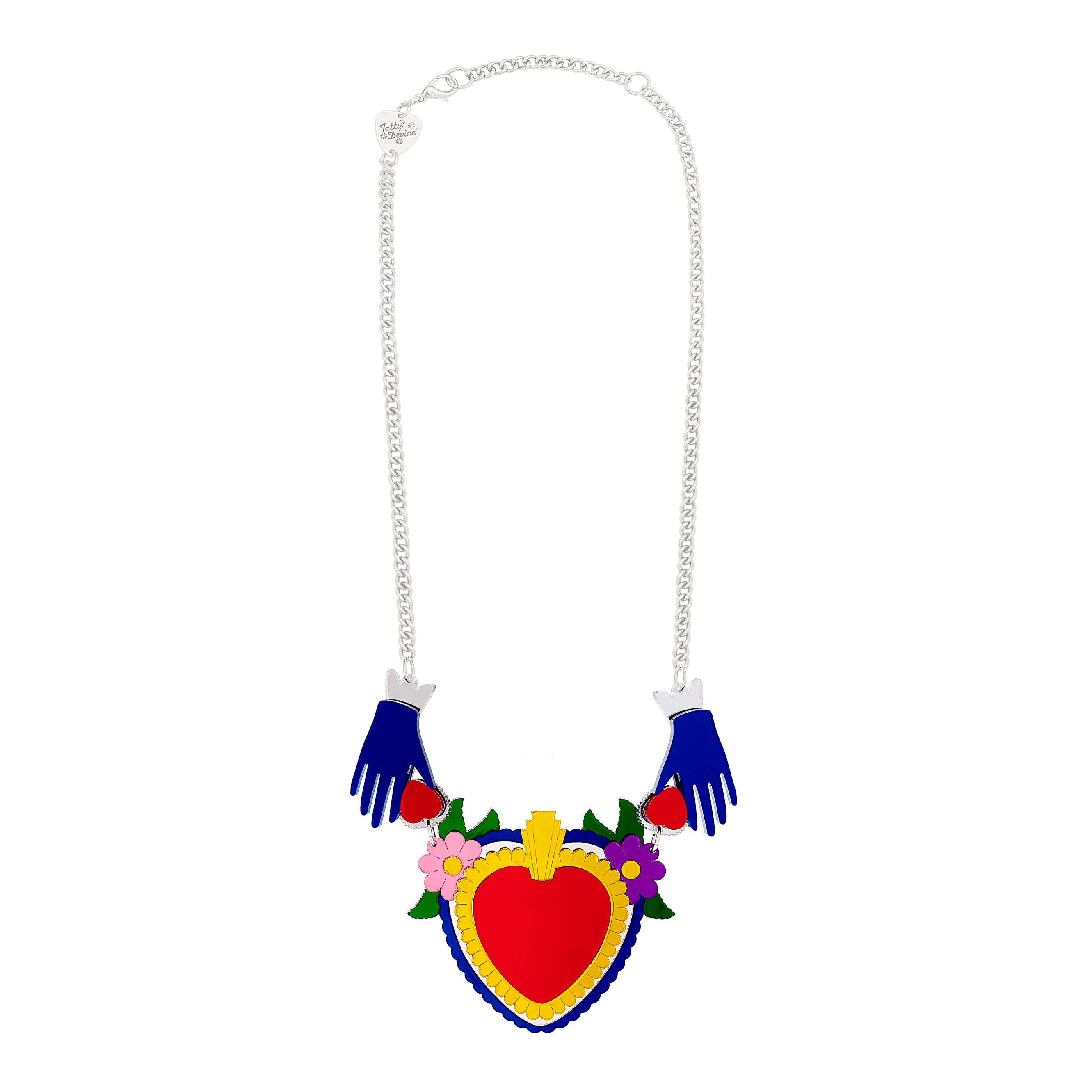 Sacred Heart Statement Necklace In 2019 | New In! | Jewelry, Sacred Intended For Most Popular Ornate Hearts Tassel Necklaces (Gallery 20 of 25)