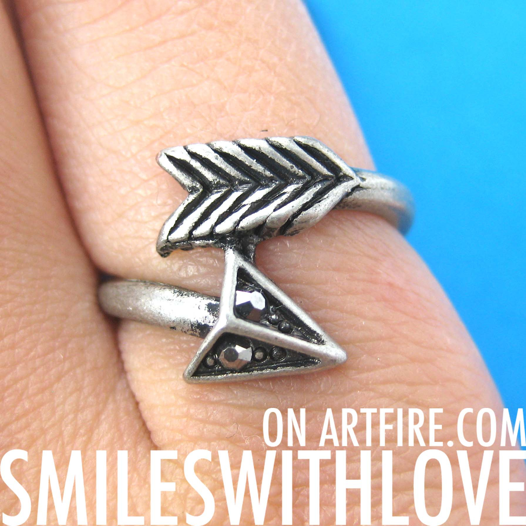 Sale – Arrow Wrap Around Feather Ring In Silver – Size 6 And 7 Only From Dotoly Love Inside Recent Wrap Around Arrow Rings (View 12 of 25)