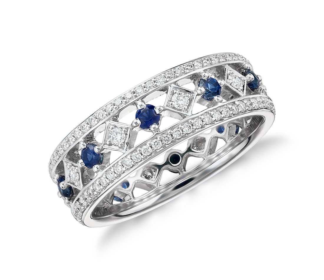 Sapphire And Diamond Eternity Ring In 18K White Gold Regarding 2019 Princess Cut Diamond Anniversary Bands In Gold (View 22 of 25)