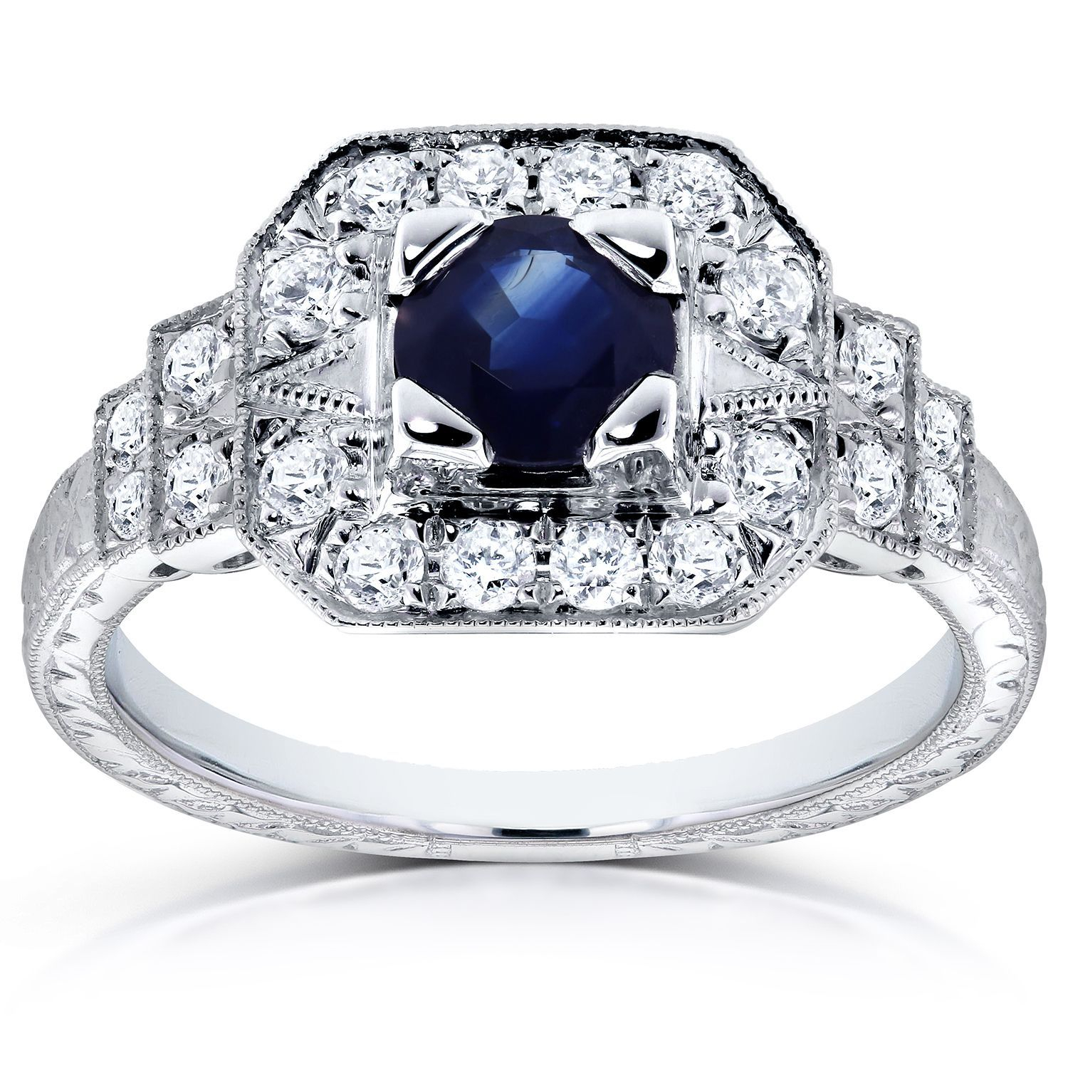 Sapphire And Diamond Ring In Fourteen Karat White Gold With For Newest Diamond Layered Anniversary Ring In White Gold (View 14 of 25)