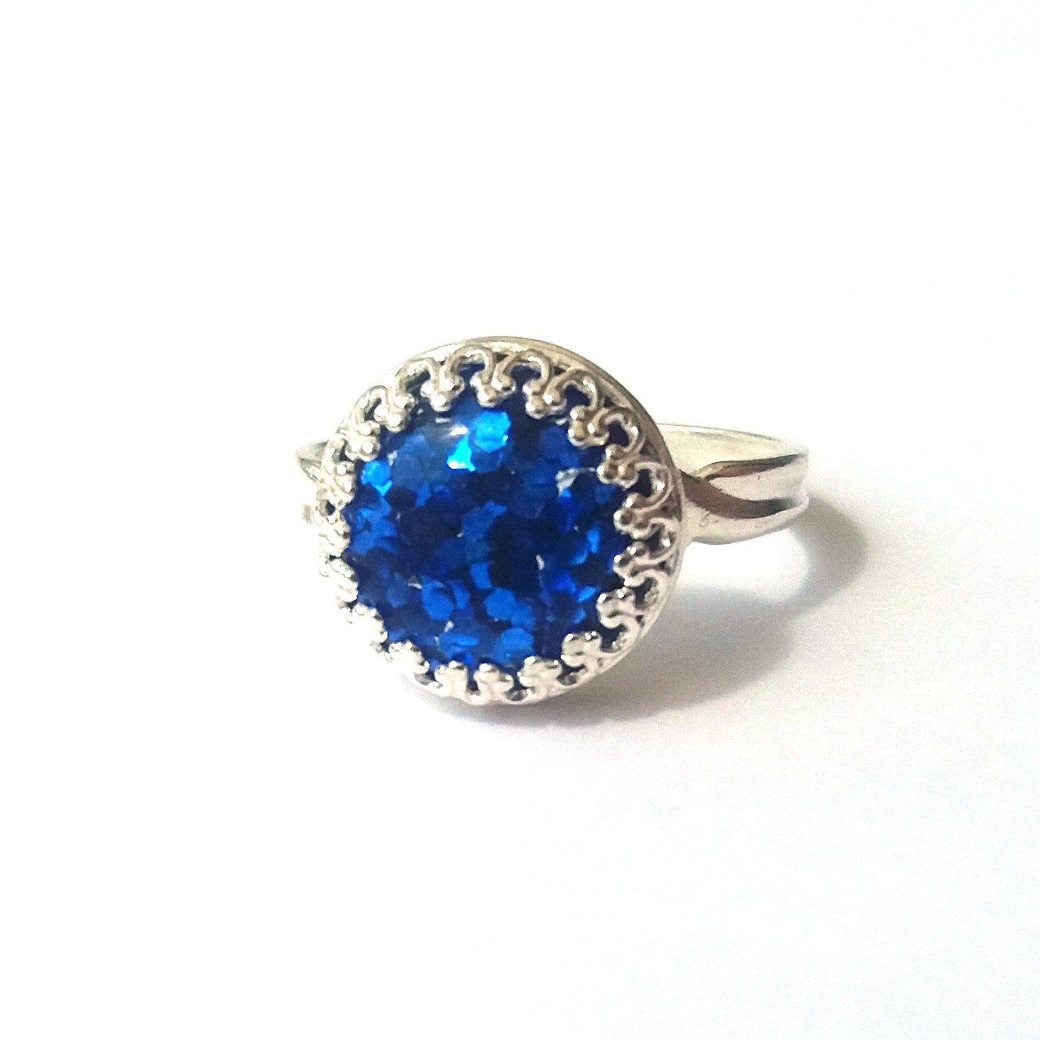 Sapphire Blue Glitter Ring, Sterling Silver Ring, Glitter Cabochon, Blue Ring, Sparkle Ring, More Colours, Or Choose Gold, Rose Gold Pertaining To 2017 Blue Sparkling Crown Rings (View 2 of 25)