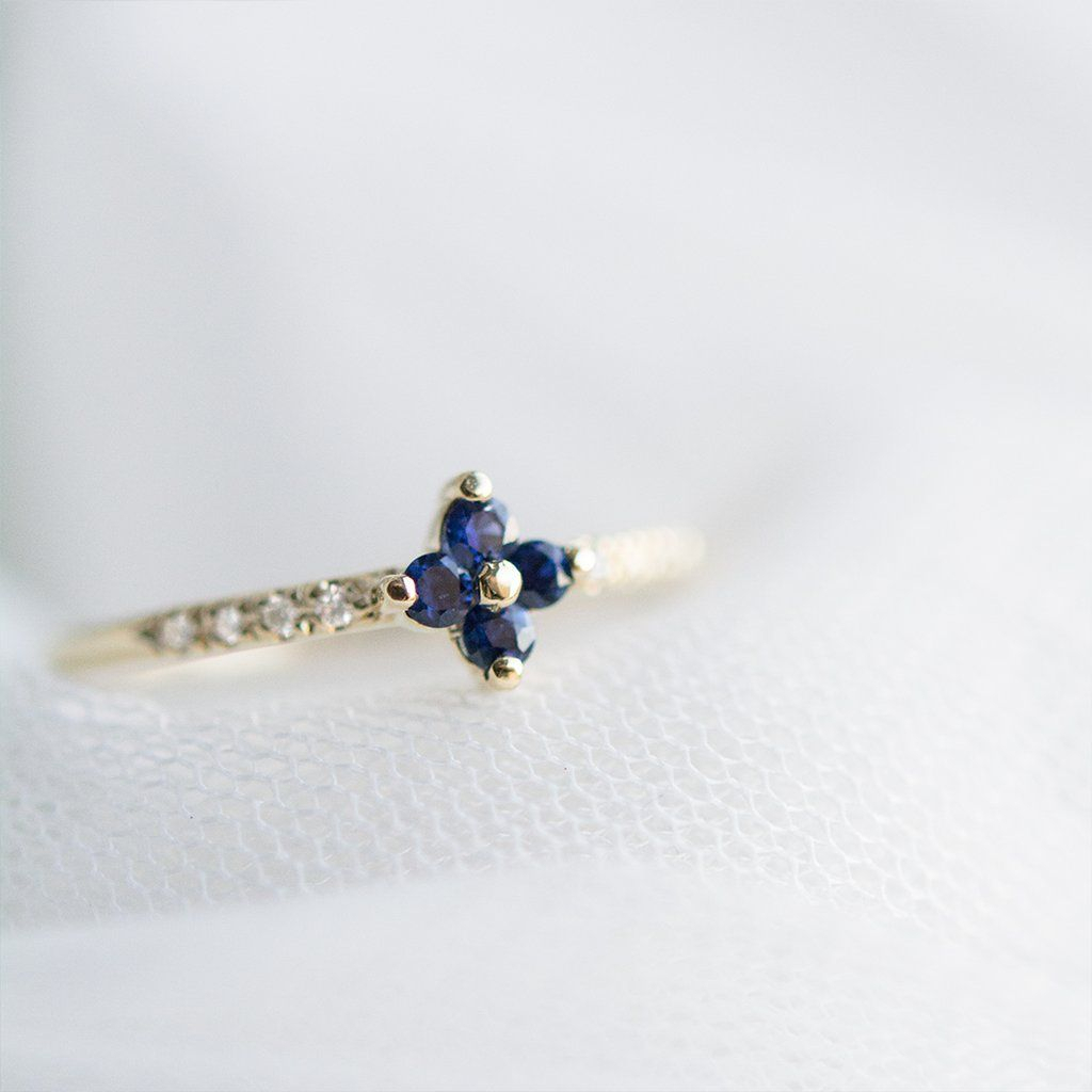 Sapphire Four Leaf Clover Diamond Ring In 2019 | A Gilded Leaf Regarding Most Current Lucky Four Leaf Clover Open Rings (View 24 of 25)