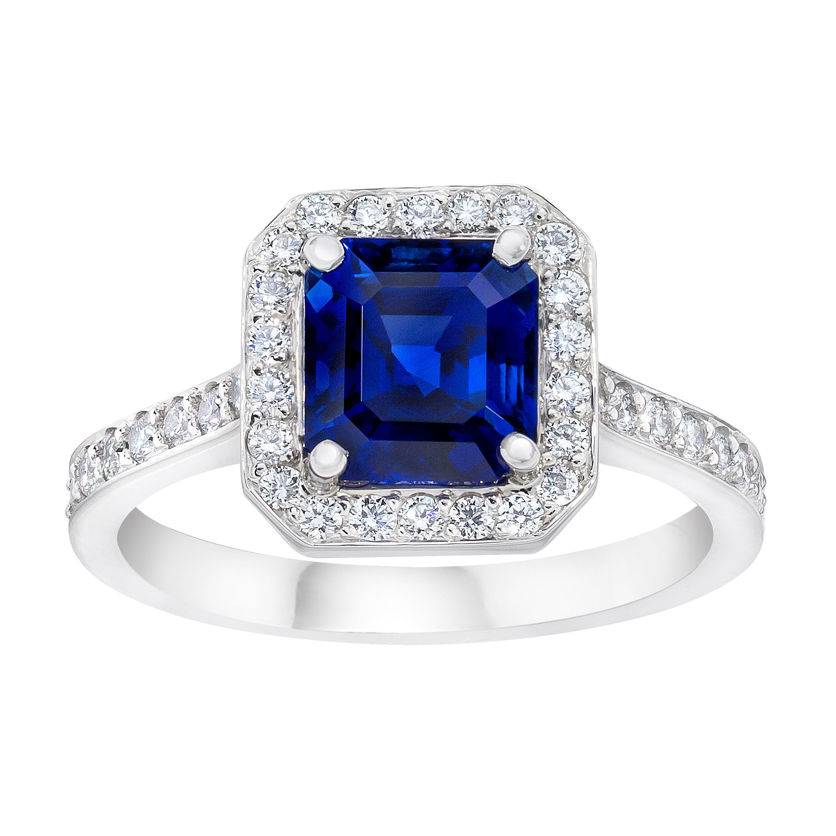 Sapphire Halo Ring – Rings – Fine Jewelry Throughout Newest Sparkling Square Halo Rings (View 17 of 25)