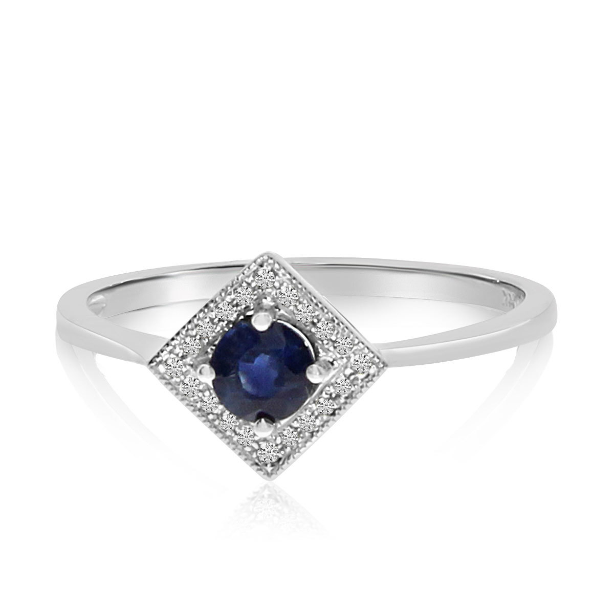Sappire & Diamond Ring 14K White Gold – 3Mm Blue Sapphire And Diamond  Square Halo Ring – Sapphire Rings For Women Regarding Most Recent Blue Square Sparkle Halo Rings (Gallery 13 of 25)