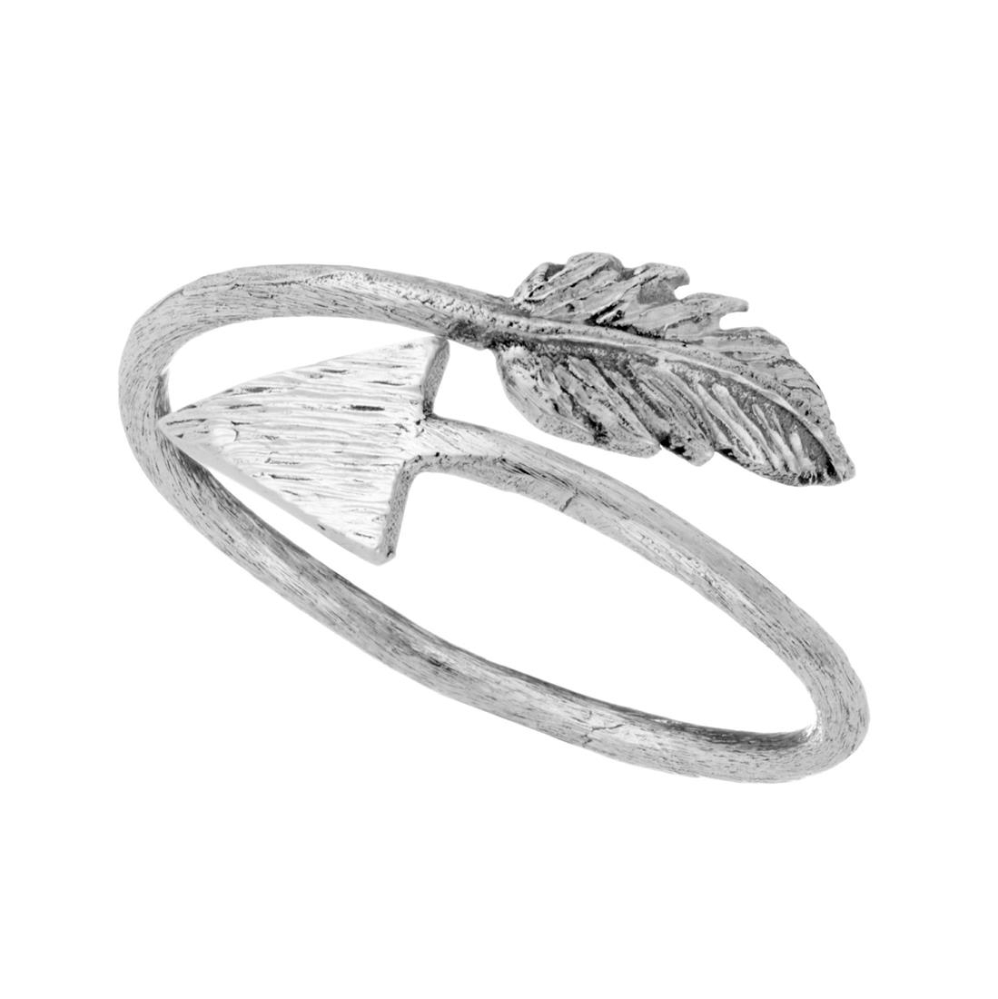 Satin Silver Arrow Wraparound Adjustable Ring For Most Current Wrap Around Arrow Rings (Gallery 4 of 25)