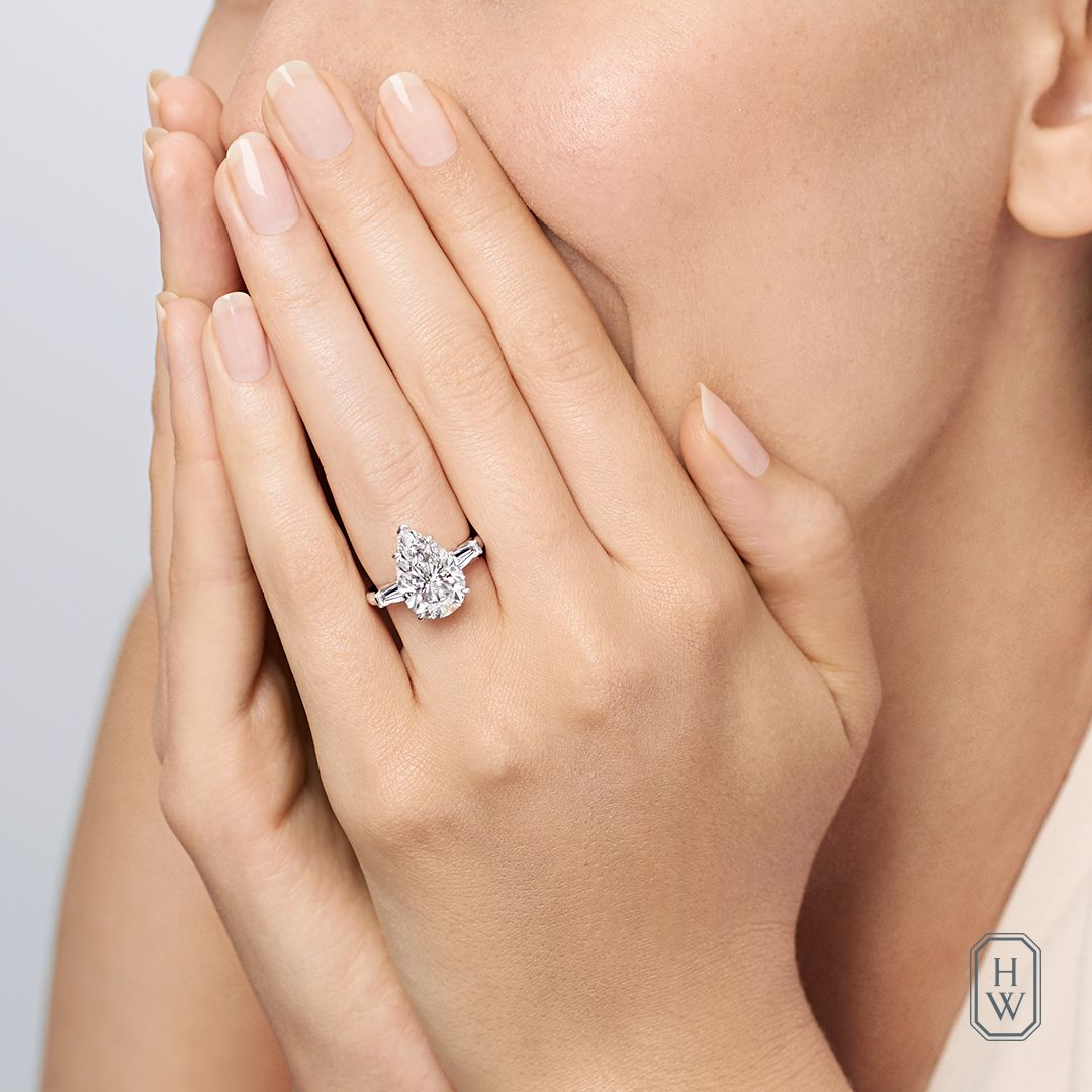 Say Yes To Perfection. #brilliantlyinlove #harrywinston _ Discover Intended For Most Recent Classic Teardrop Halo Rings (Gallery 21 of 25)