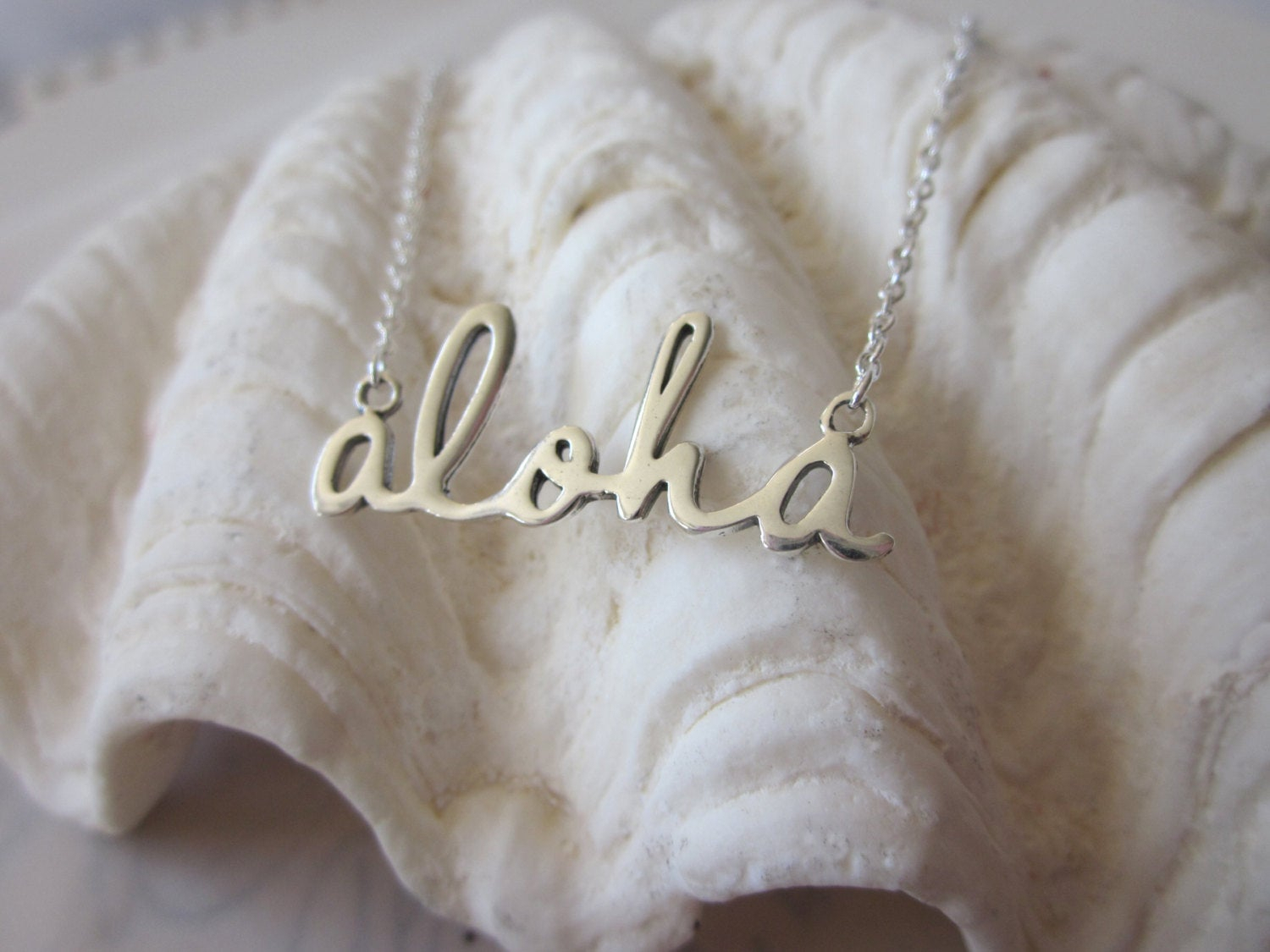Script Aloha Necklace – Silver With Regard To Most Current Loved Script Necklaces (View 18 of 25)