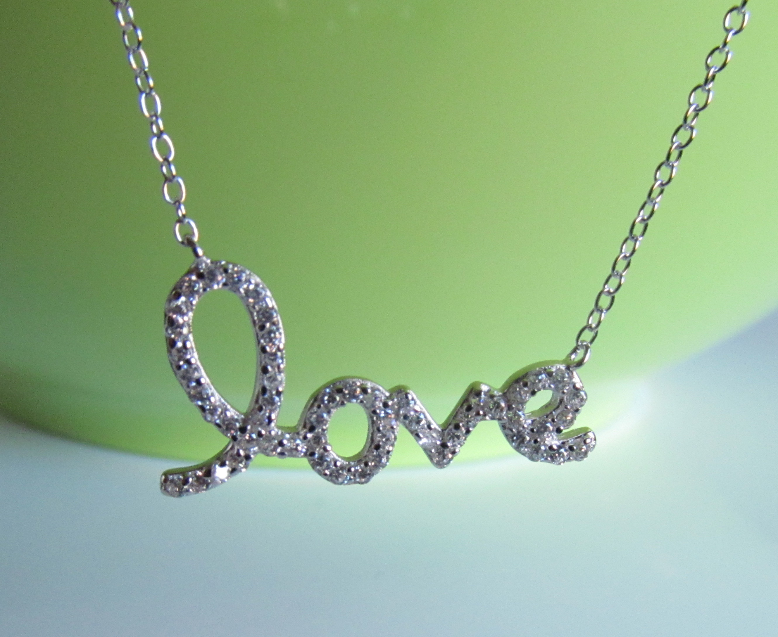 "Script Letter Love Necklace Rhodium Over 925 Sterling Silver On 16""+2""  Cable Chain With 2020 Loved Script Necklaces (View 19 of 25)"