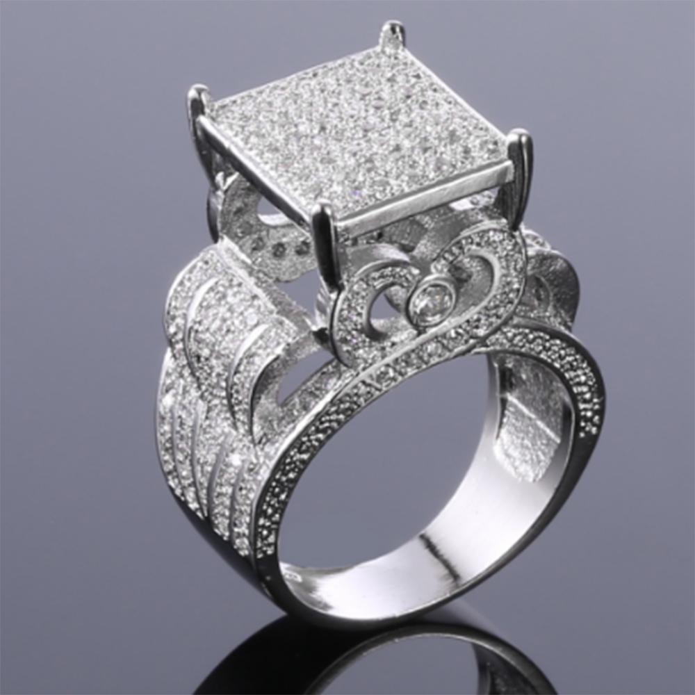 $seoproductname Inside 2018 Square Sparkle Halo Rings (View 12 of 25)