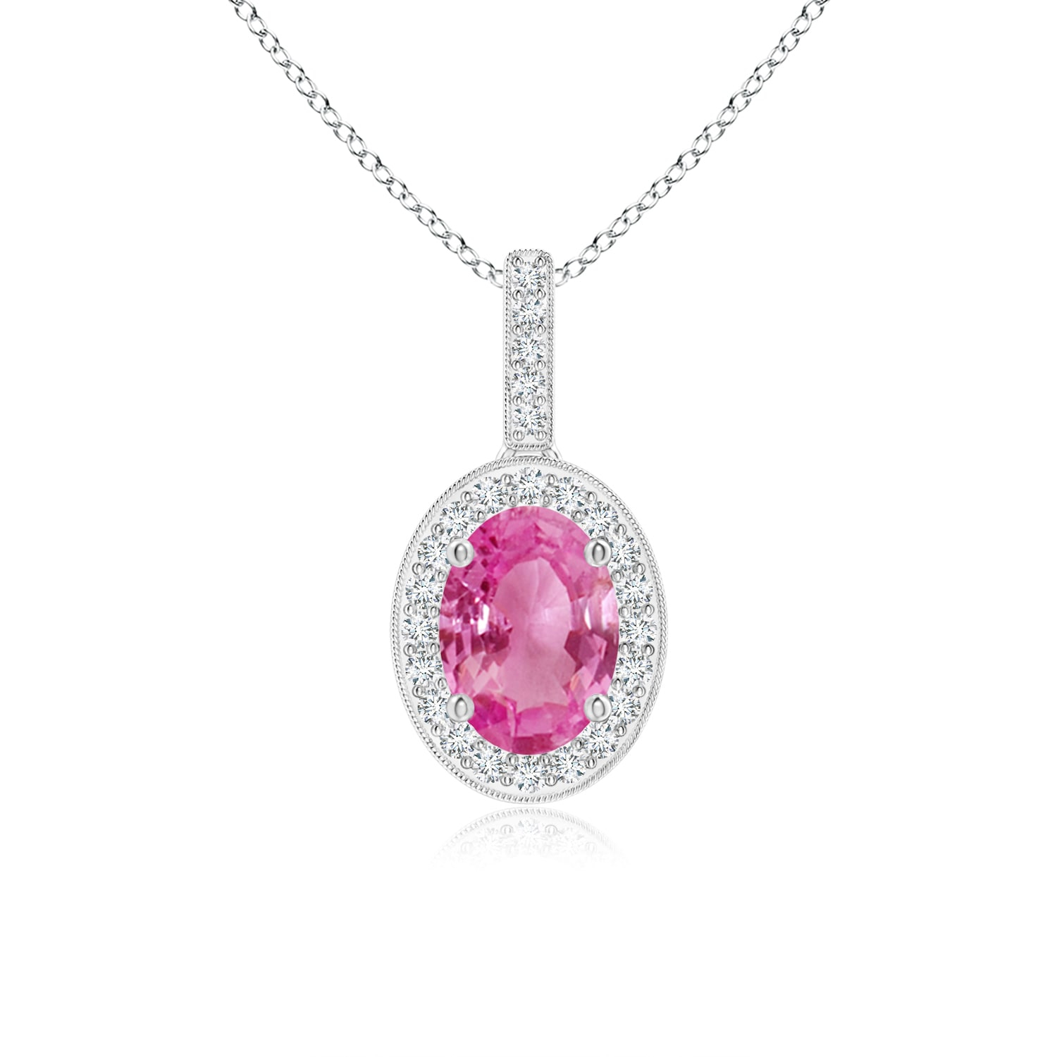 September Birthstone Pendant Necklaces – Vintage Oval Pink Sapphire Pendant  Necklace With Diamond Halo In 950 Platinum (7X5Mm Pink Sapphire) – Regarding Recent Oval Sparkle Halo Pendant Necklaces (Gallery 12 of 25)