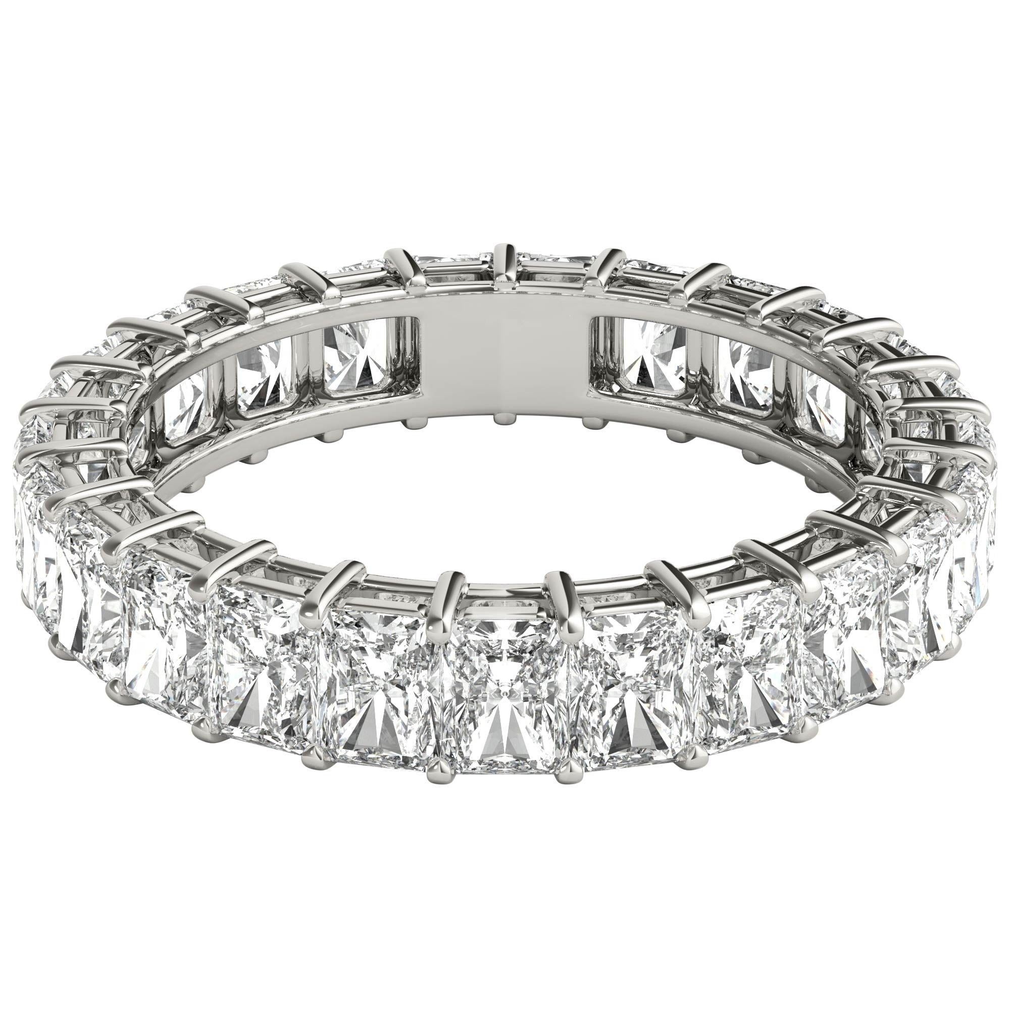 Seraphina 18K White Gold 4Ct Tdw Radiant Cut Diamond Eternity Ring In Most Up To Date Celebration Ideal 1Diamond Five Stone Anniversary Bands In White Gold (Gallery 19 of 25)