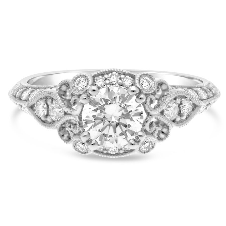 Sereena Engagement Ring Setting With Vintage Style Diamond Halo In 14Kt  White Gold – Limited Within 2020 Diamond Vintage Style Seven Stone Anniversary Bands In White Gold (View 15 of 25)