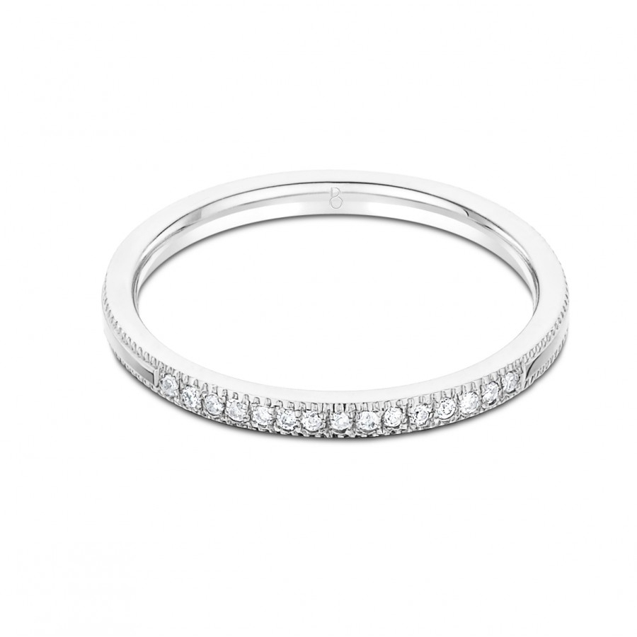 Serenity 18Ct White Gold Milgrain Diamond Wedding Band With Regard To Most Recently Released Diamond And Milgrain Anniversary Bands In White Gold (Gallery 7 of 25)