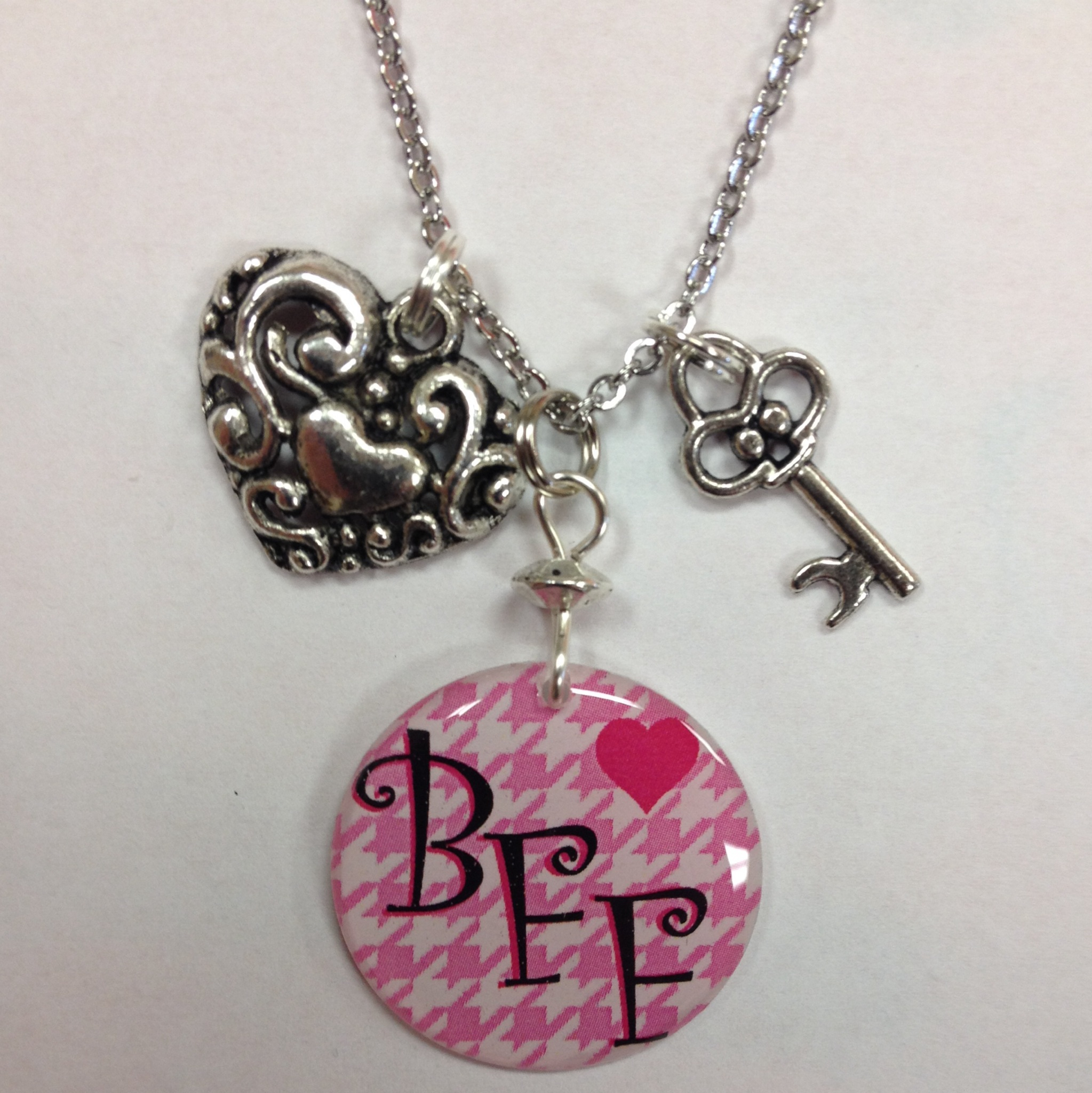 Set Of 2 Best Friends Forever, Bff Or Besties Charm Necklace With With Newest Best Friends Heart & Key Necklaces Pendant Necklaces (View 10 of 25)