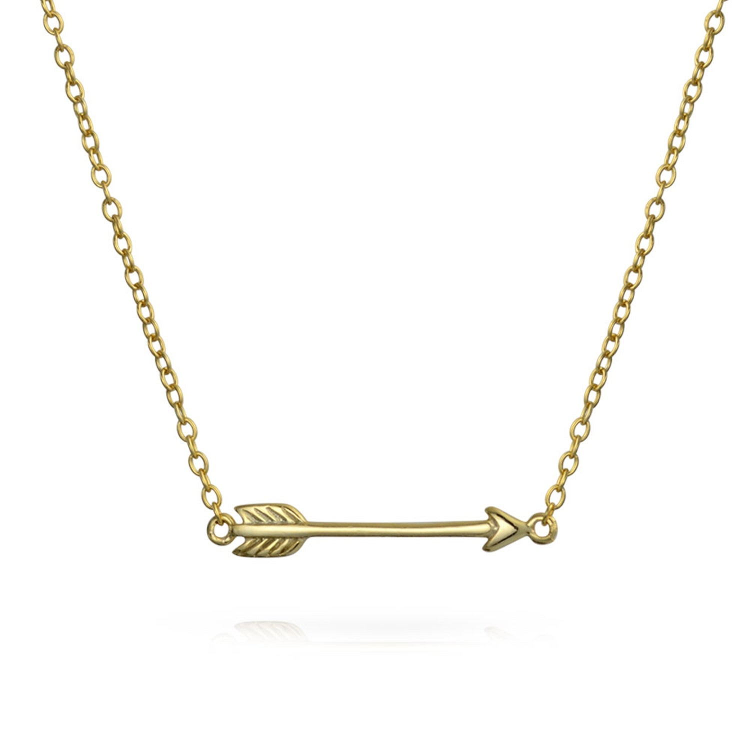 Set Of 2 Sideways Arrows Pendants Shinny 14K Gold Plated 925 Sterling Silver Necklace For Women For Teens 14 16 Inch Regarding Most Popular Arrow Of Cupid Dangle Charm Necklaces (View 18 of 25)