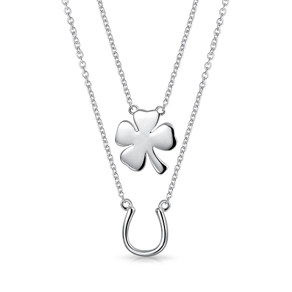 Set Of Two Lucky Horseshoe Four Leaf Clover Shamrock Irish Pendant For  Women Necklace 925 Sterling Silver Inside 2020 Lucky Four Leaf Clover Dangle Charm Necklaces (View 21 of 25)