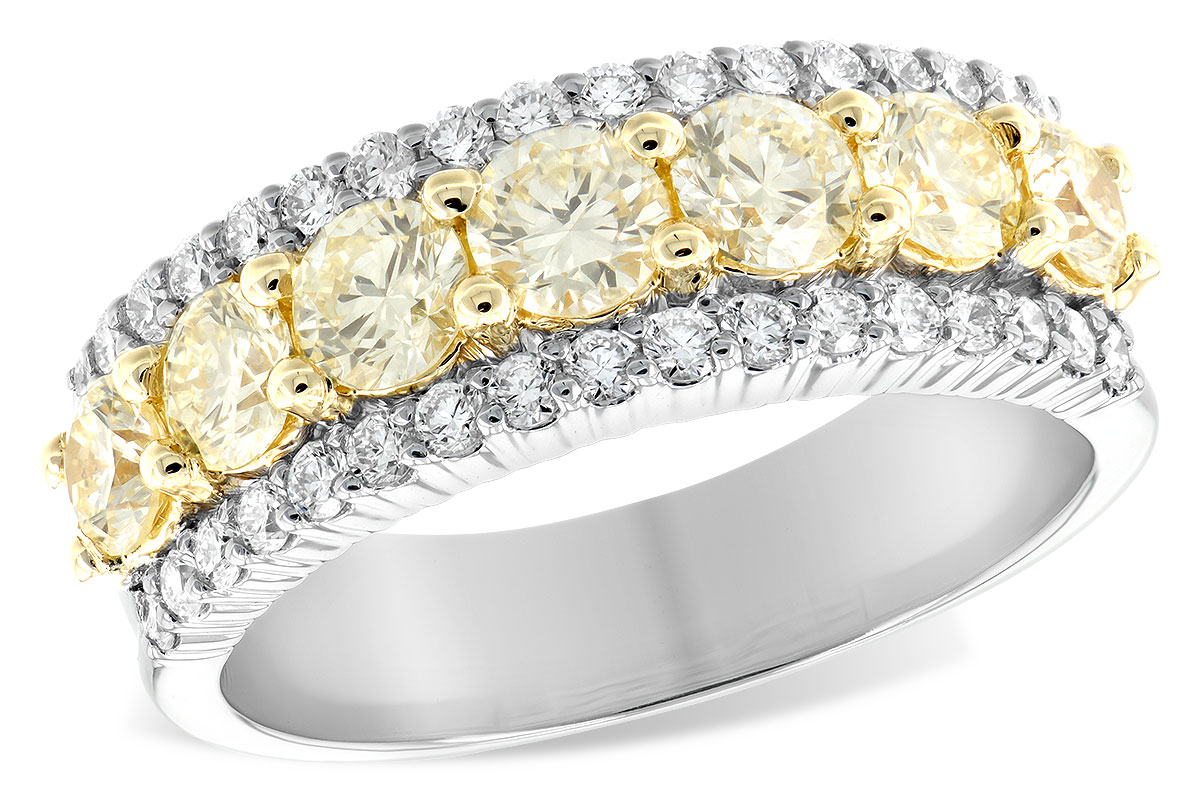 Seven Natural Yellow Diamond Band With White Diamond Border Regarding Most Up To Date Diamond Seven Row Anniversary Rings In White Gold (Gallery 7 of 25)