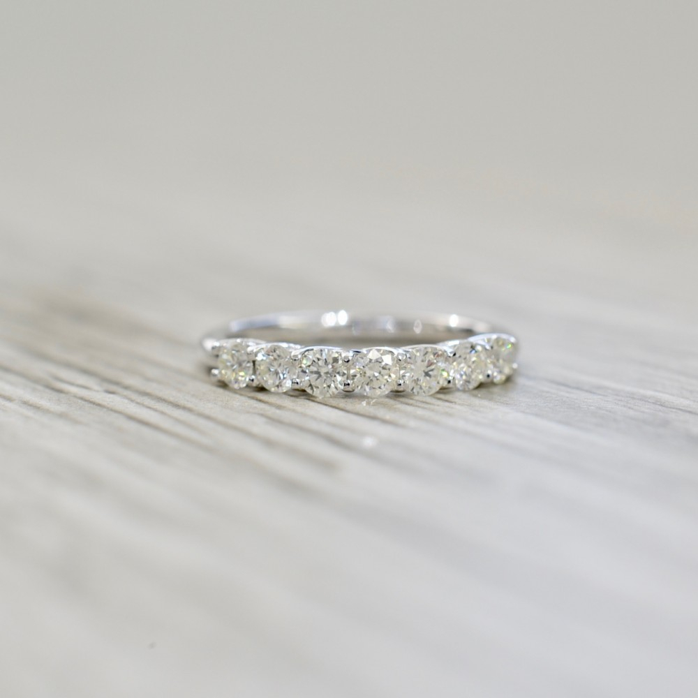 Seven Stone Open Trellis Basket Set Wedding Band 0.80Ct In White Regarding Best And Newest Diamond Seven Stone Anniversary Ring In White Gold (Gallery 22 of 25)