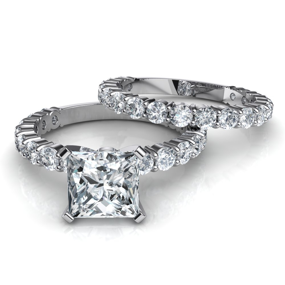 Shared Prong Princess Cut Engagement Ring & Wedding Band Bridal Set With Most Current Princess Cut And Round Diamond Anniversary Bands In White Gold (Gallery 19 of 25)