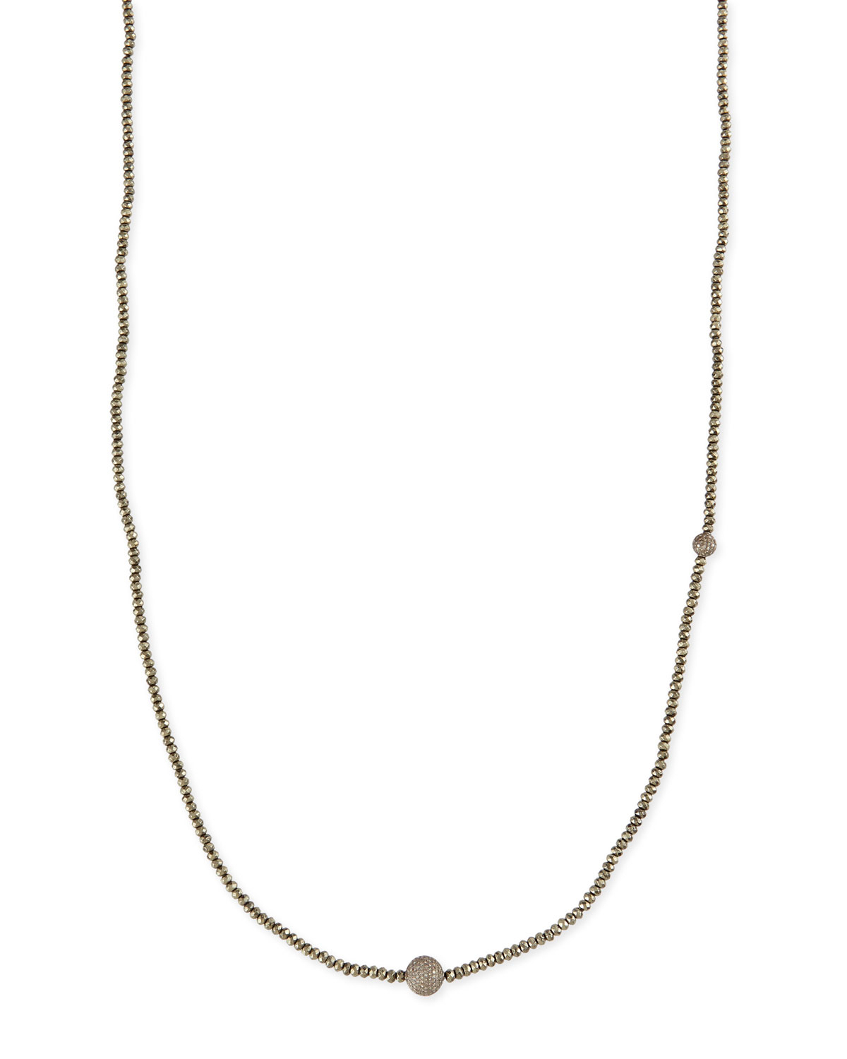 Sheryl Lowe Faceted Pyrite Necklace With Pave Diamond Beads In Intended For Most Current Beads & Pavé Necklaces (Gallery 20 of 25)