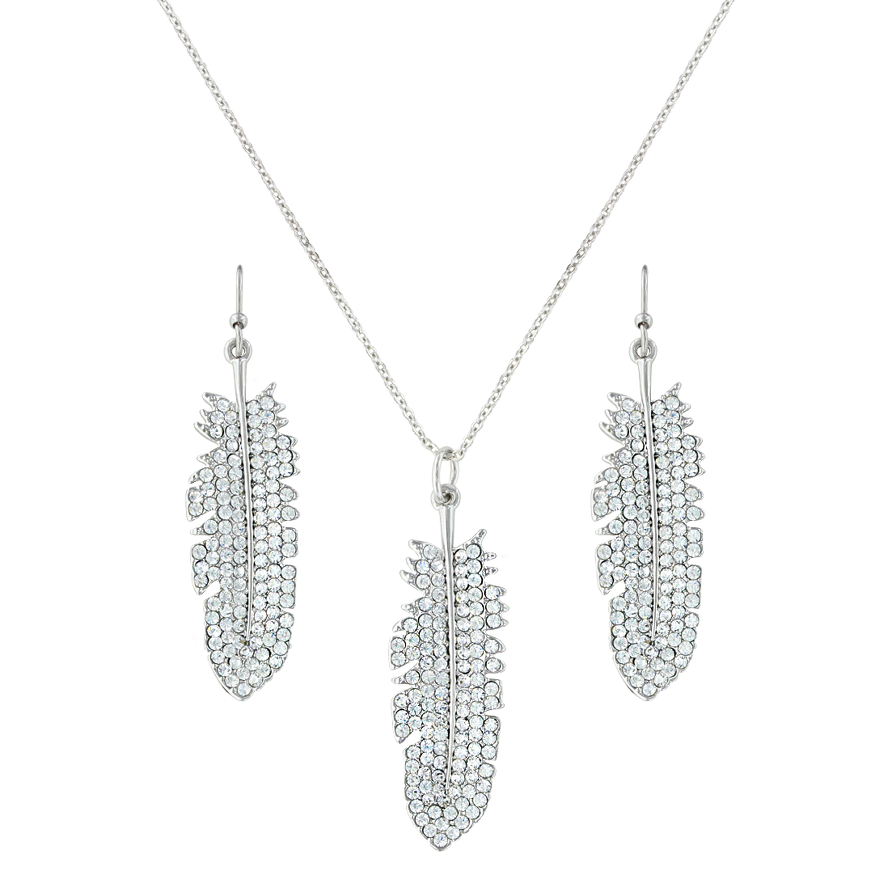 Shimmering Feather Jewelry Set In Recent Shimmering Feather Pendant Necklaces (View 16 of 25)