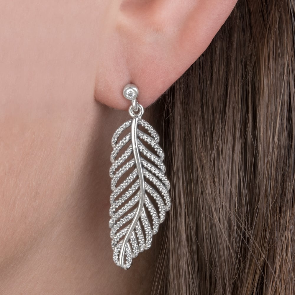 Shimmering Feathers Drop Earrings 290584Cz Within Most Recently Released Shimmering Feather Pendant Necklaces (View 19 of 25)