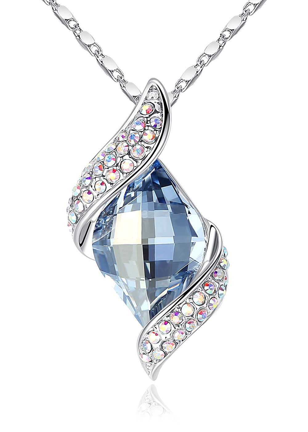 "Shining Leaf"" Authentic Swarovski Crystal Pendant Necklace, Light Within Most Popular Shining Leaf Pendant Necklaces (Gallery 6 of 25)"