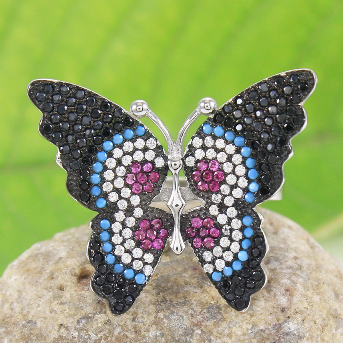 Shiny Handmade Butterfly Ring, Cubic Zircon As Promise Ring, Birthday Gift Sterling Silver Cocktail Ring With White,black & Turquoise Cz With Most Recent Sparkling Butterfly Rings (View 23 of 25)