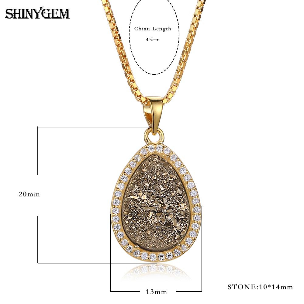 Shinygem Sparkling Water Drop Natural Druzy Crystal Pendant For Best And Newest Sparkling Stones Pendant Necklaces (Gallery 11 of 25)