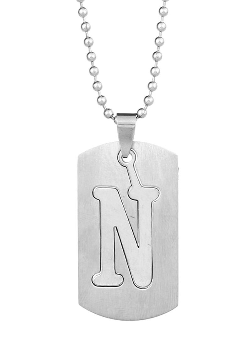 Shop Bluelans 38 Letters Alphabet Dog Tag Pendant Stainless Steel With Most Popular Letter G Alphabet Locket Element Necklaces (View 18 of 25)