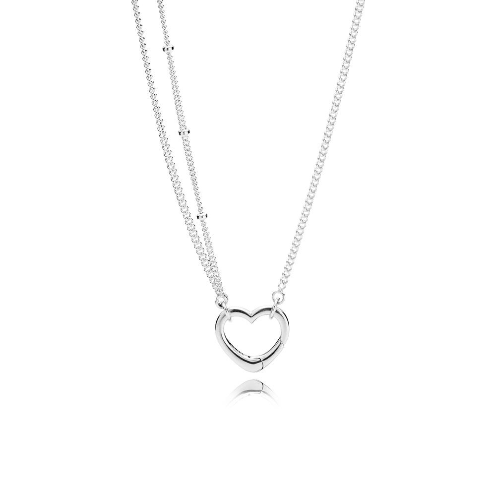 Shop Cheap Pandora Shine Collection 2018 Open Heart Necklace Outlet Throughout Most Current Royal Green Crystal May Droplet Pendant Necklaces (View 20 of 25)