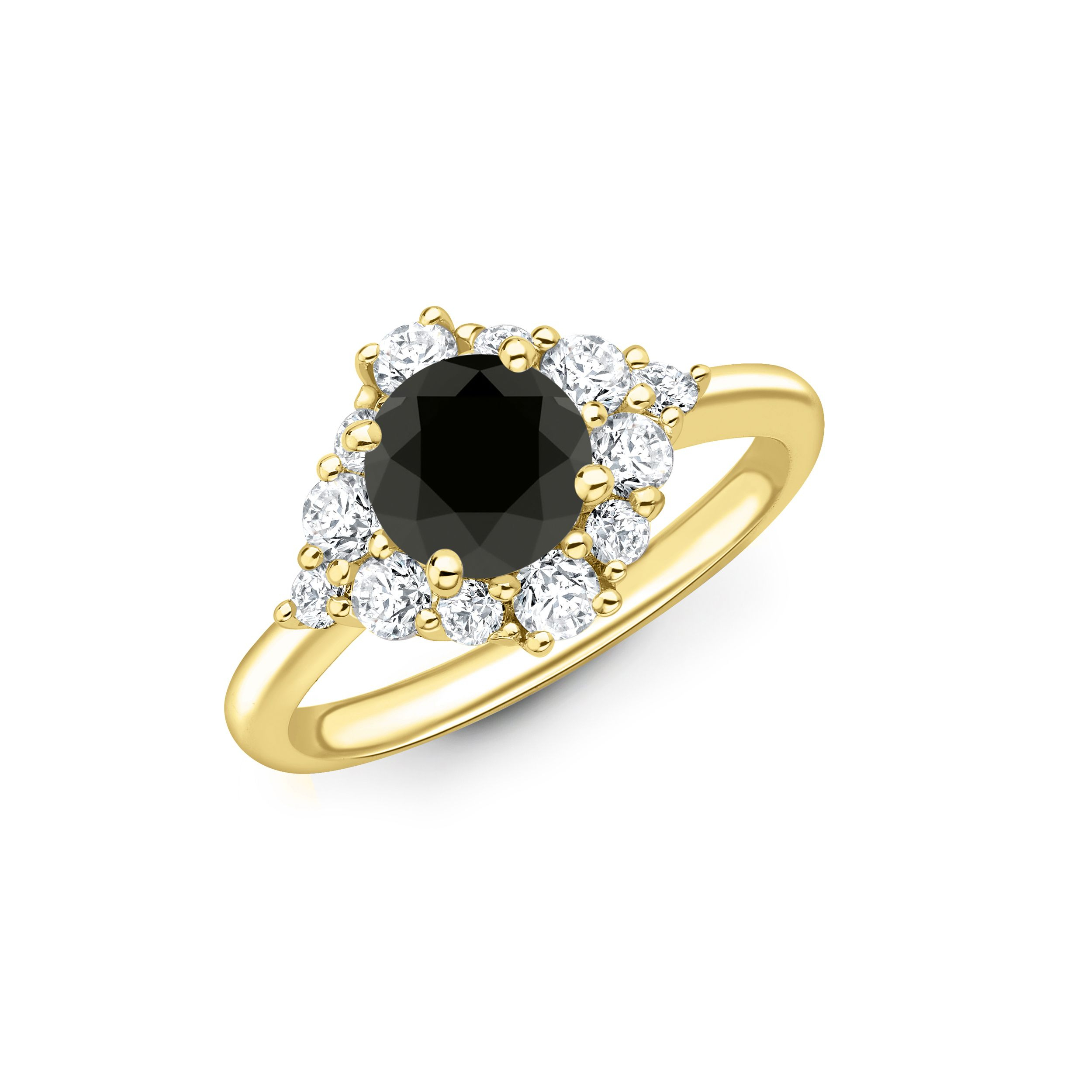 Shop For Sparkling Cluster Style Halo Engagement Ring With Black Diamond | Abelini™ Pertaining To Current Sparkling Halo Rings (View 9 of 25)