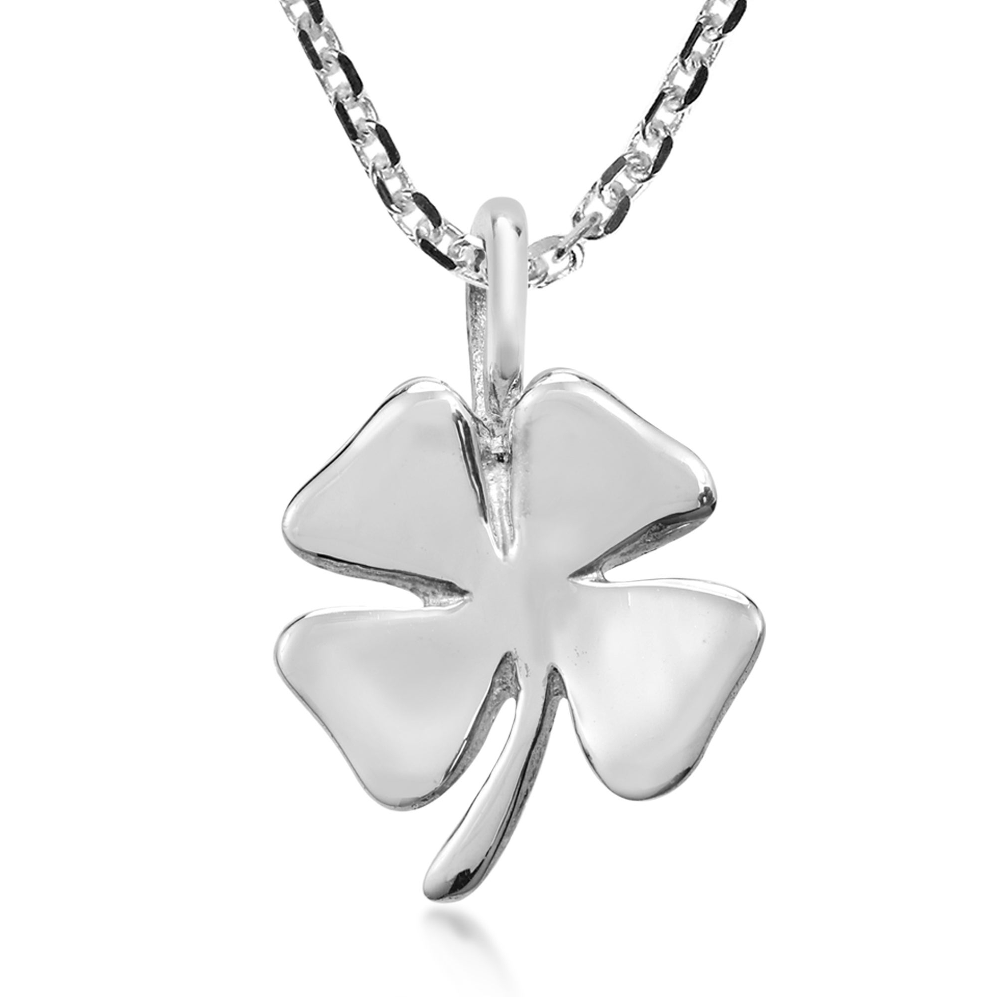 Shop Handmade Shiny Lucky Sterling Silver Four Leaf Clover Pendant In Best And Newest Lucky Four Leaf Clover Pendant Necklaces (View 5 of 25)