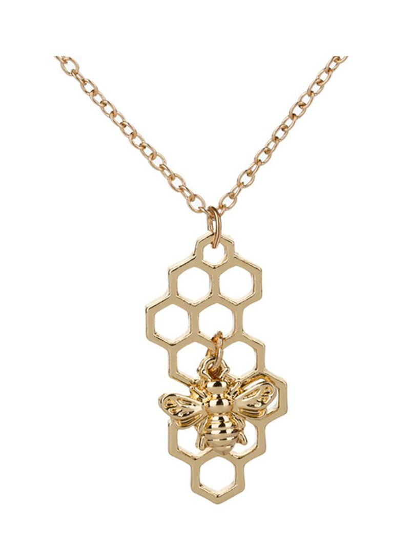 Shop Minghua Bumble Bee Honeycomb Pendant Necklace For Honey Comb With Most Current Heart Honeycomb Lace Pendant Necklaces (View 21 of 25)