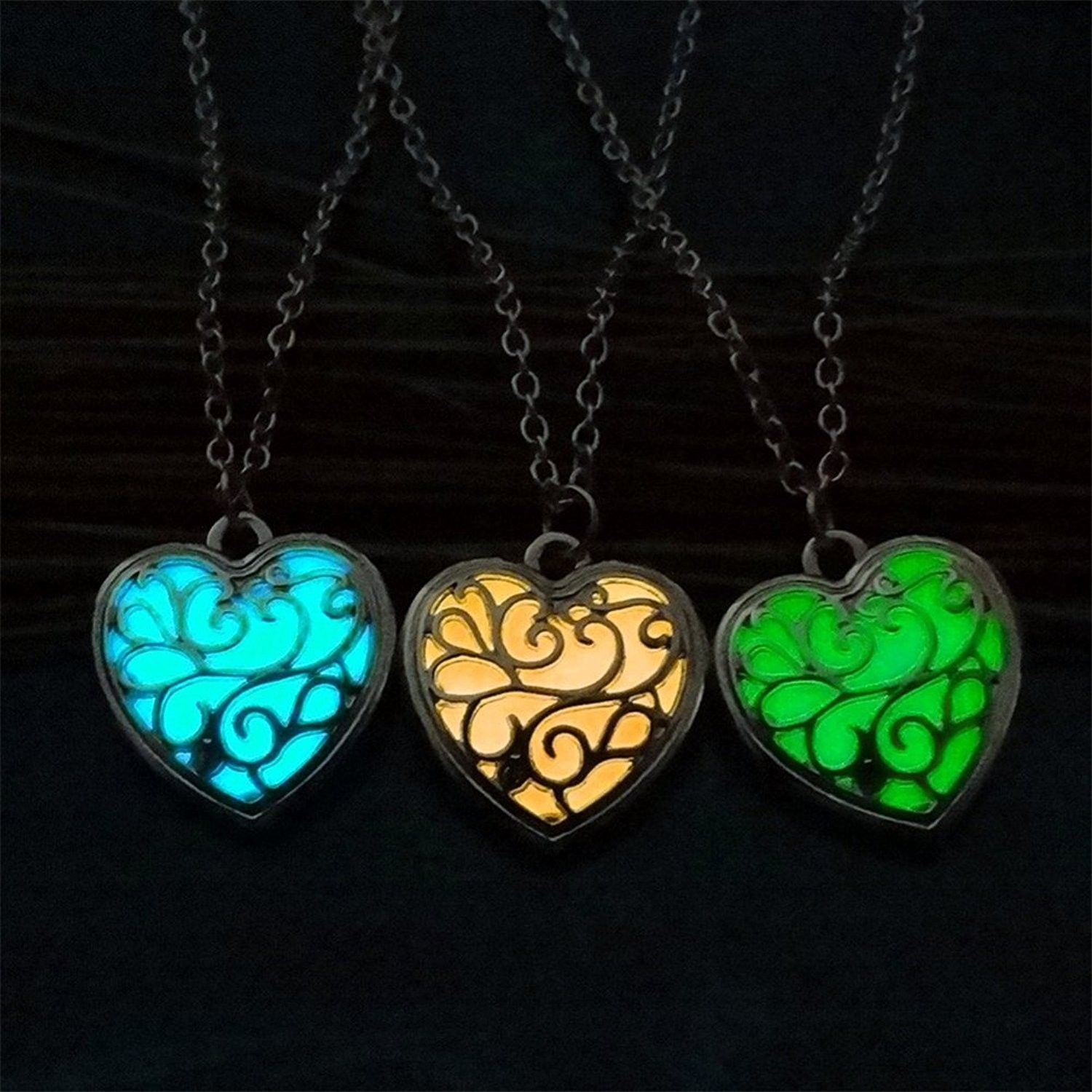 Shop, Necklaces, Chains, Vintage Heart Love Luminous Necklace Hollow For Recent Luminous Florals Pendant Necklaces (View 21 of 25)