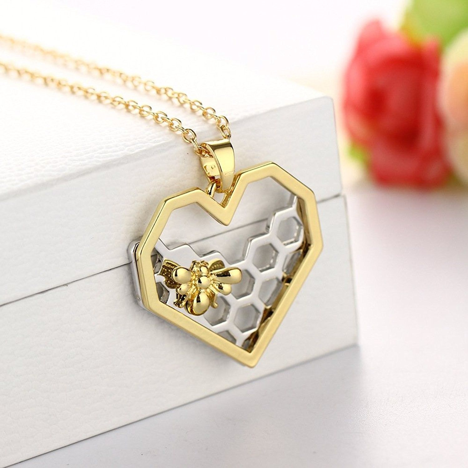 Shop, Necklaces, Pendants, Heart Hexagon Silver Honeycomb Necklace Pertaining To Newest Heart Honeycomb Lace Pendant Necklaces (View 22 of 25)