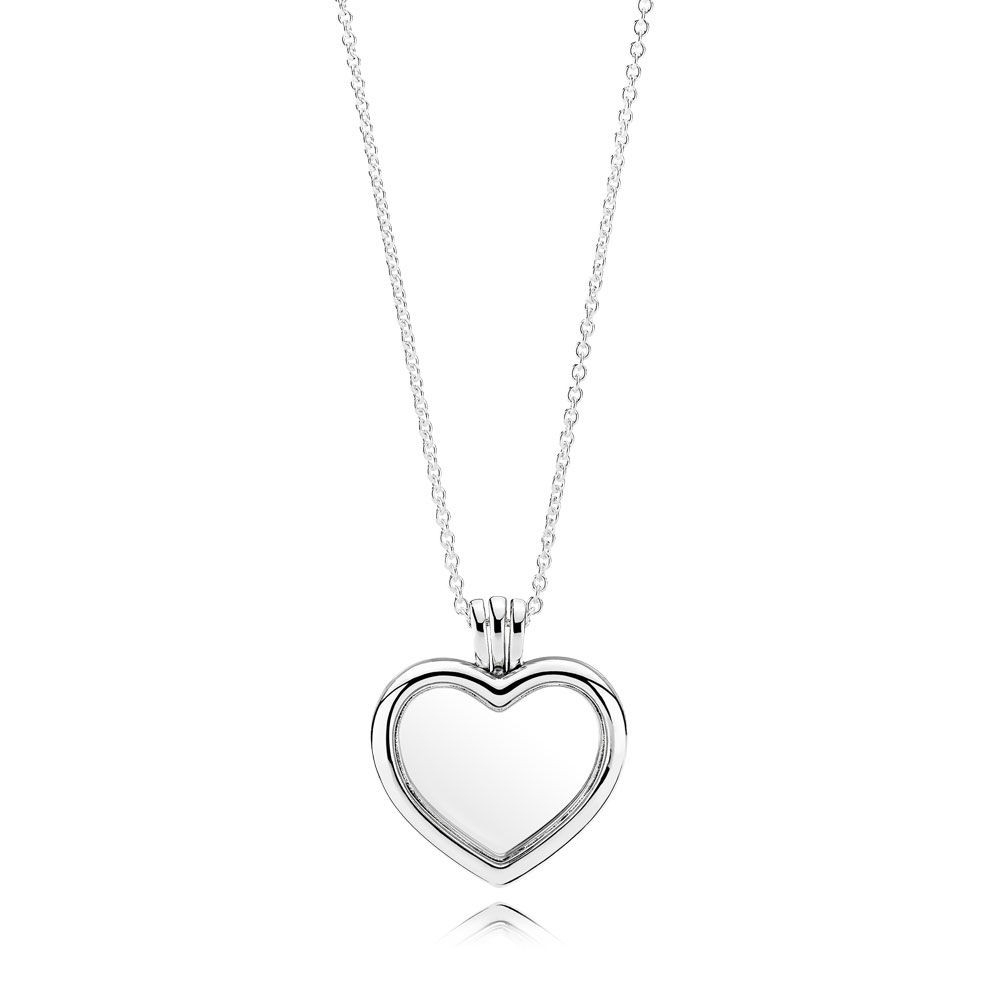 Shop Pandora Autumn Collection 2018 Floating Heart Locket,sapphire Throughout Latest Shimmering Snowflake Locket Element Necklaces (View 12 of 25)