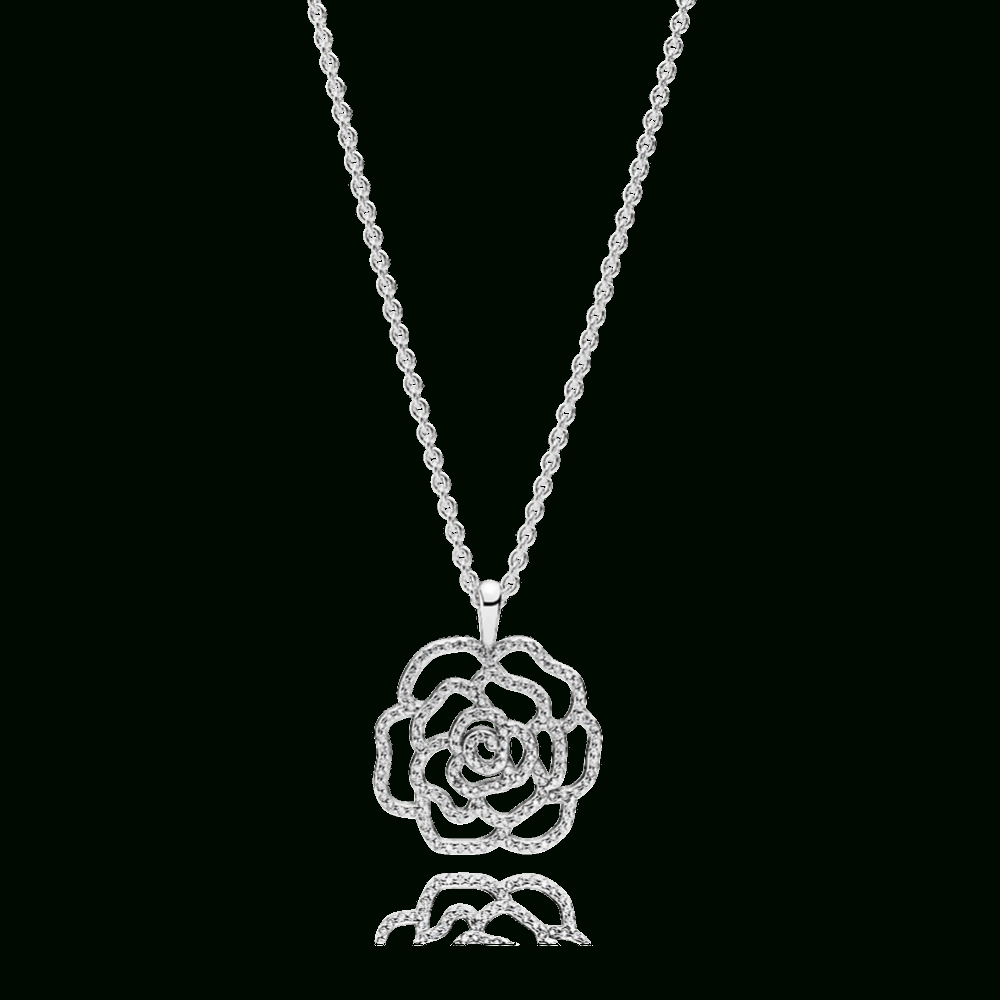 Shop Pandora Autumn Collection 2018 Shimmering Rose Pendant Necklace In Latest Shimmering Knot Pendant Necklaces (View 13 of 25)