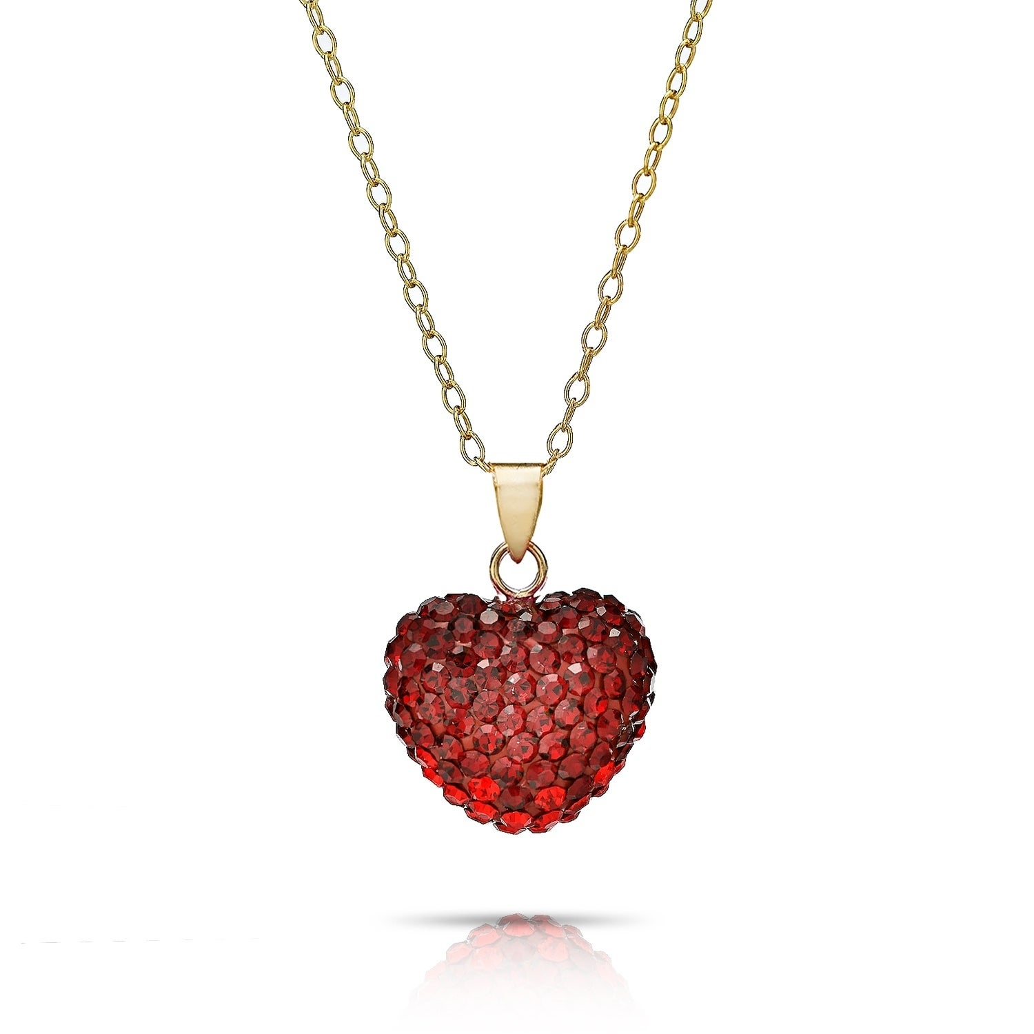 Shop Pori Jewelers 14K Solid Gold Pave Siam Crystal Puff Heart Inside Latest Pavé Locket Element Necklaces (View 19 of 25)